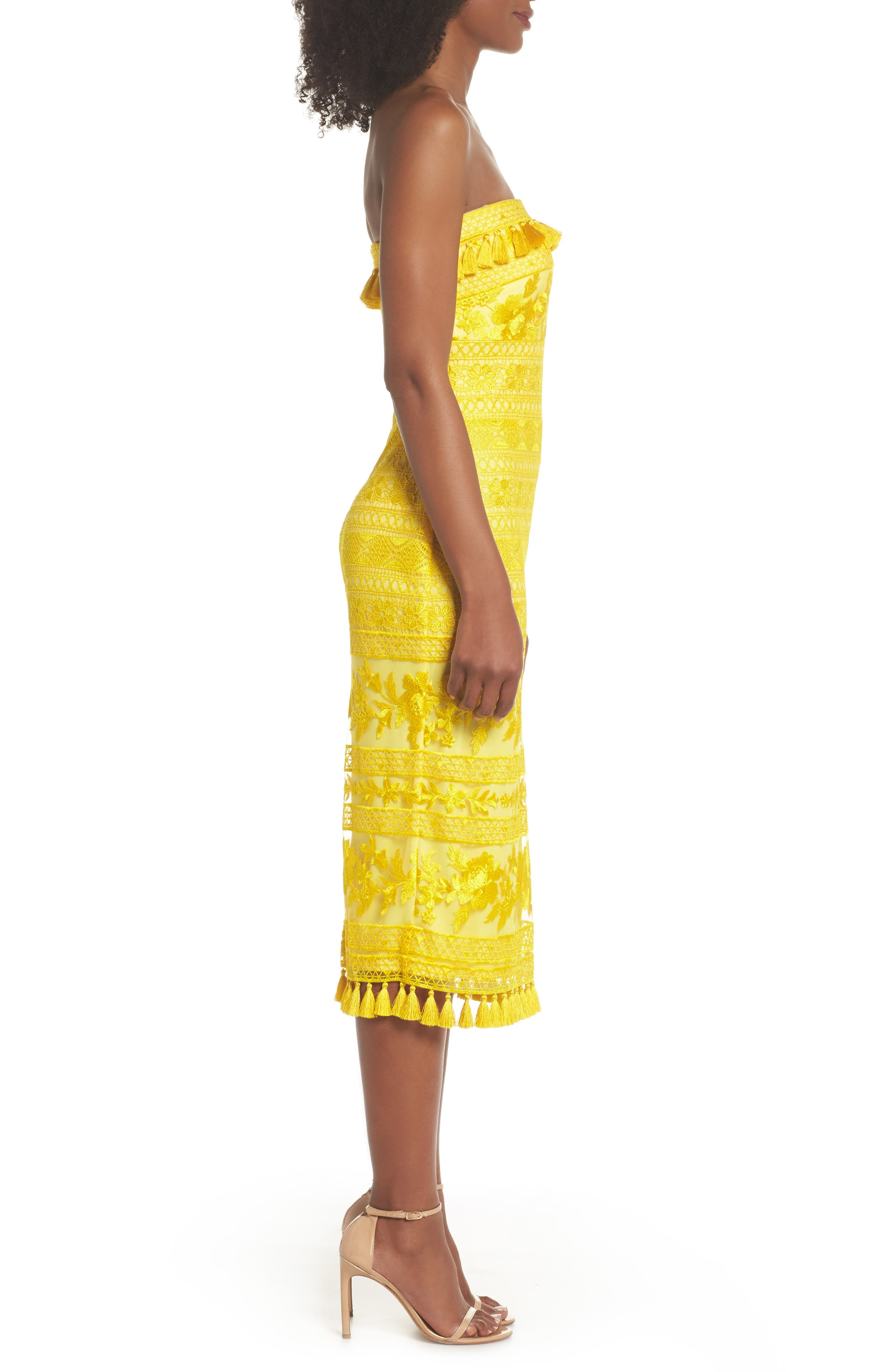 Sol Strapless Lace Midi Dress,                             Alternate thumbnail 3, color,                             YELLOW OPAL