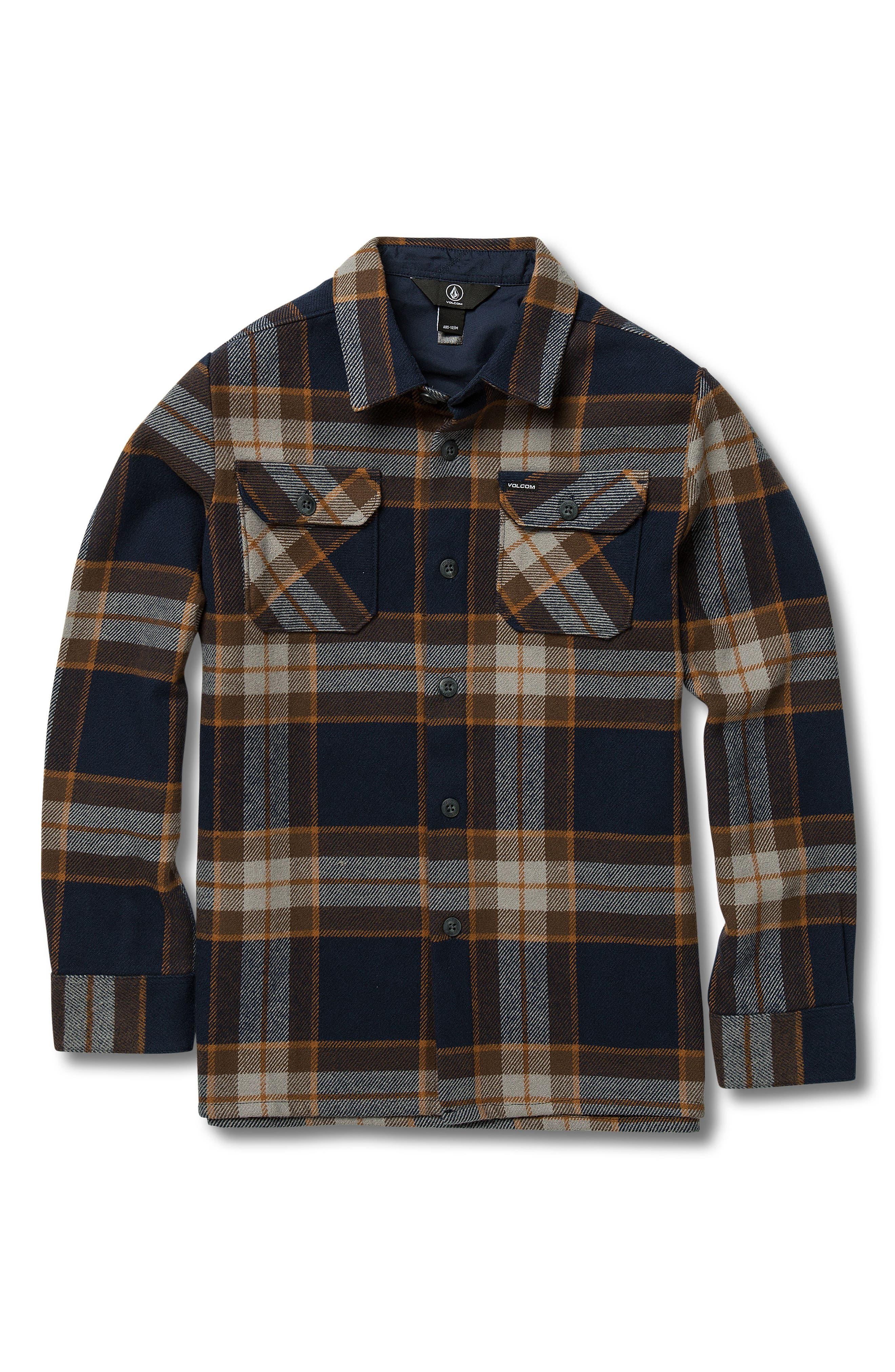 VOLCOM,                             Randower Plaid Flannel Shirt,                             Main thumbnail 1, color,                             MELINDIGO
