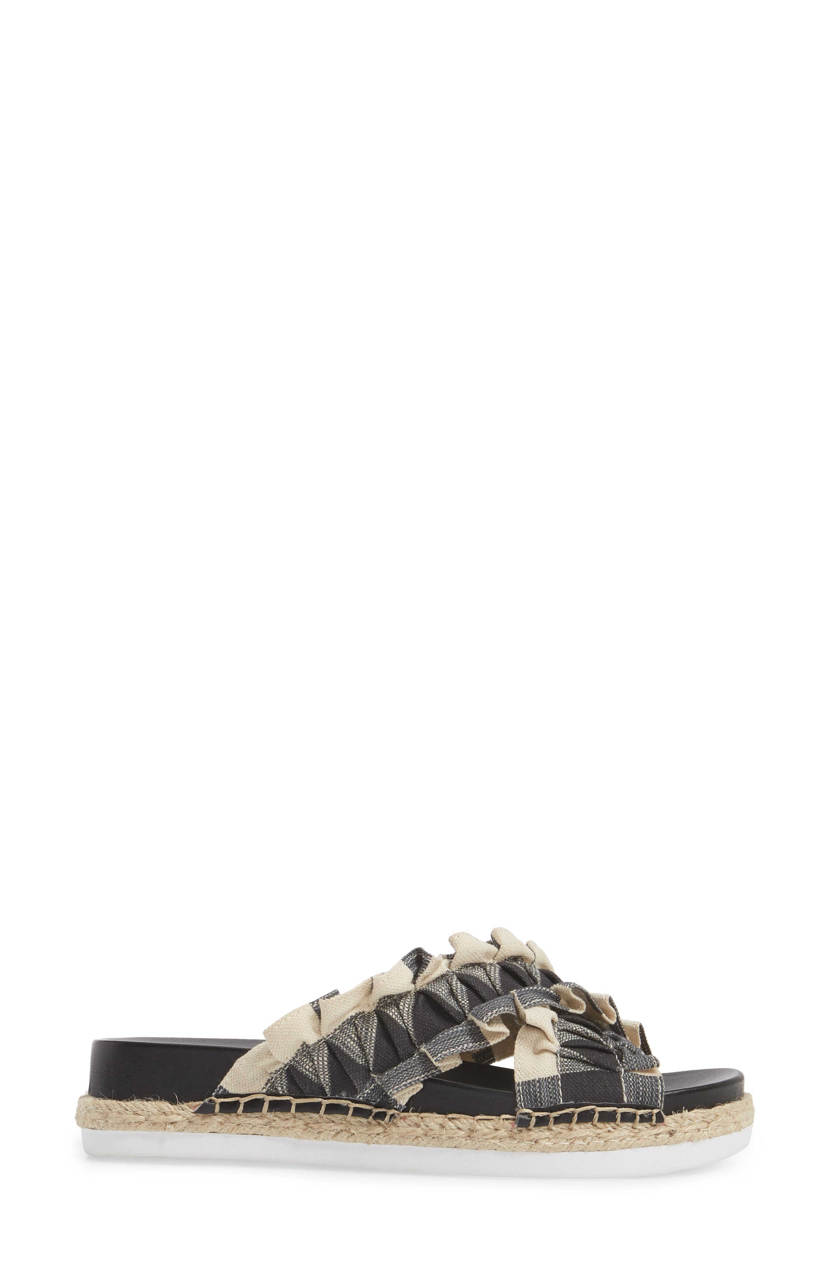 Salyn Slide Sandal,                             Alternate thumbnail 3, color,                             BLACK GINGHAM LINEN FABRIC