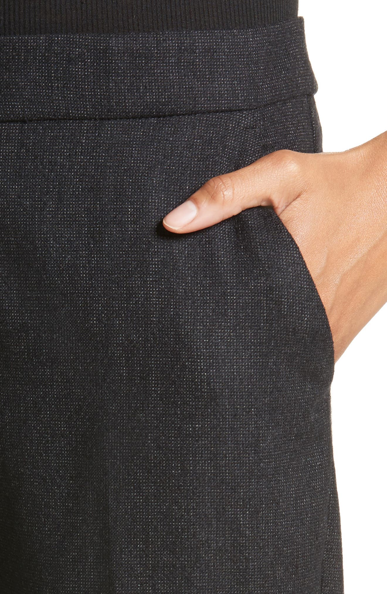 Armani Jeans Stretch Wool Slim Pants,                             Alternate thumbnail 4, color,                             001
