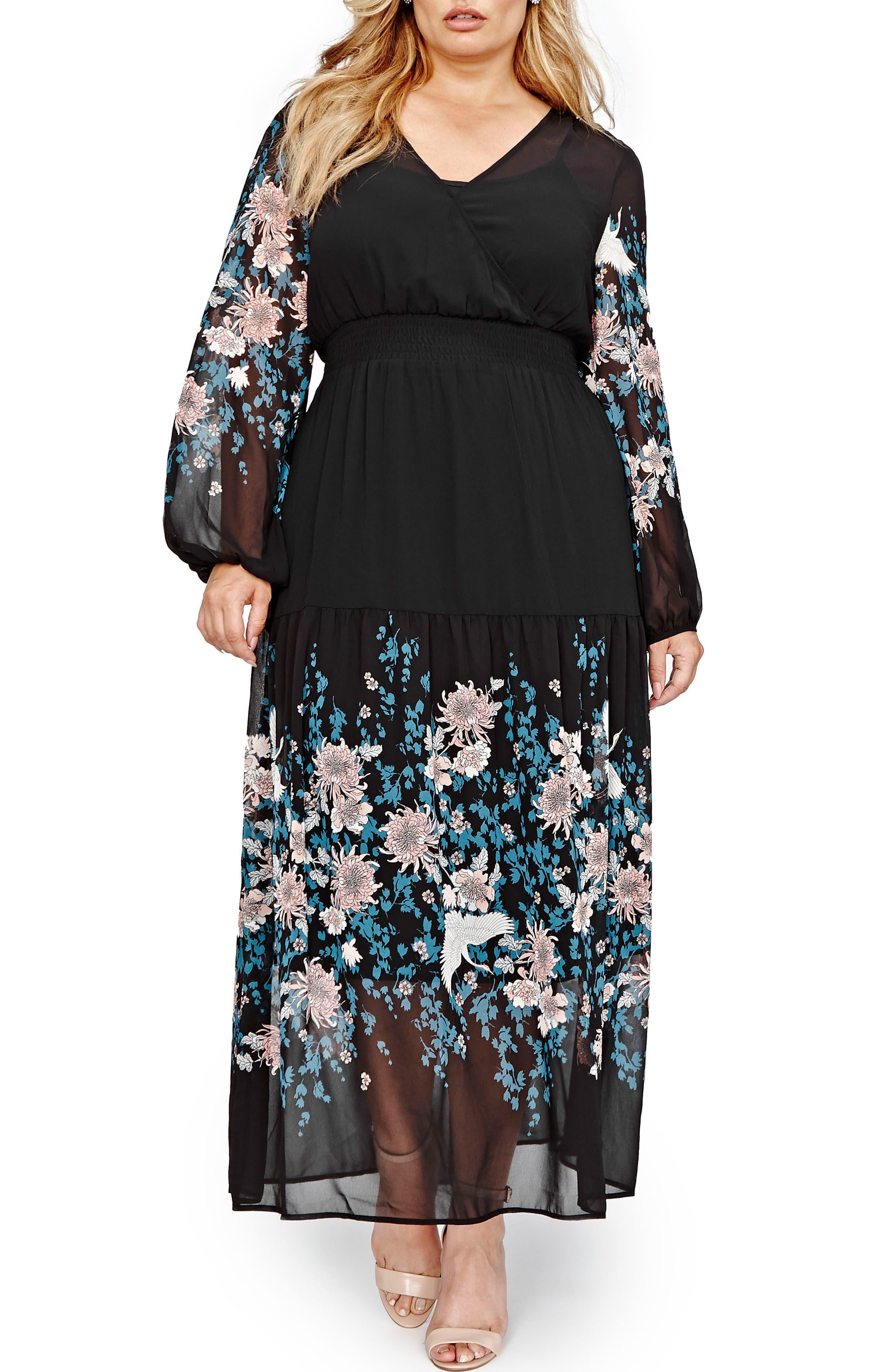 Border Print Chiffon Maxi Dress,                             Main thumbnail 1, color,                             001