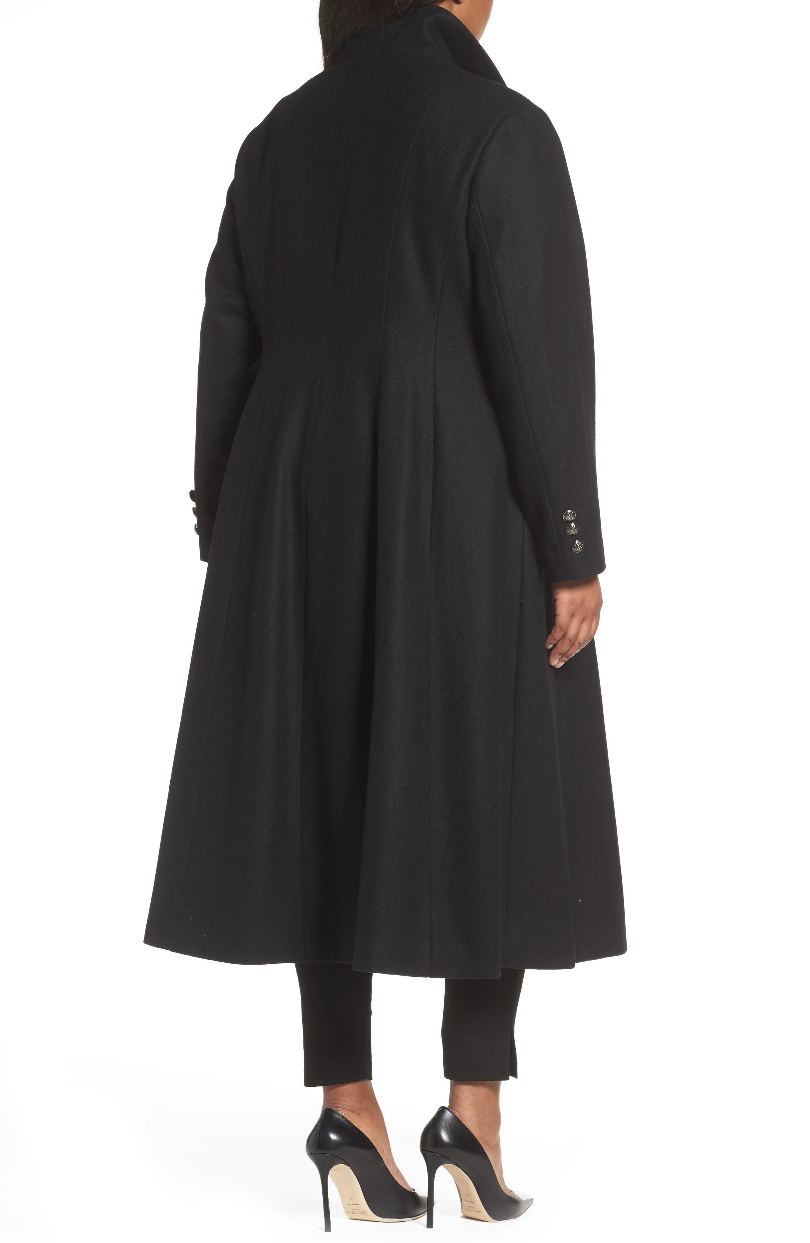Full Length Wool Blend Coat,                             Alternate thumbnail 2, color,                             001