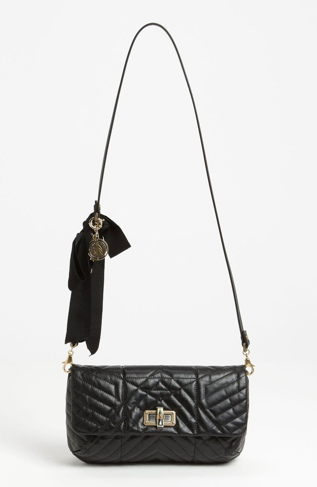 'Happy' Quilted Leather Crossbody Bag,                             Main thumbnail 1, color,                             001