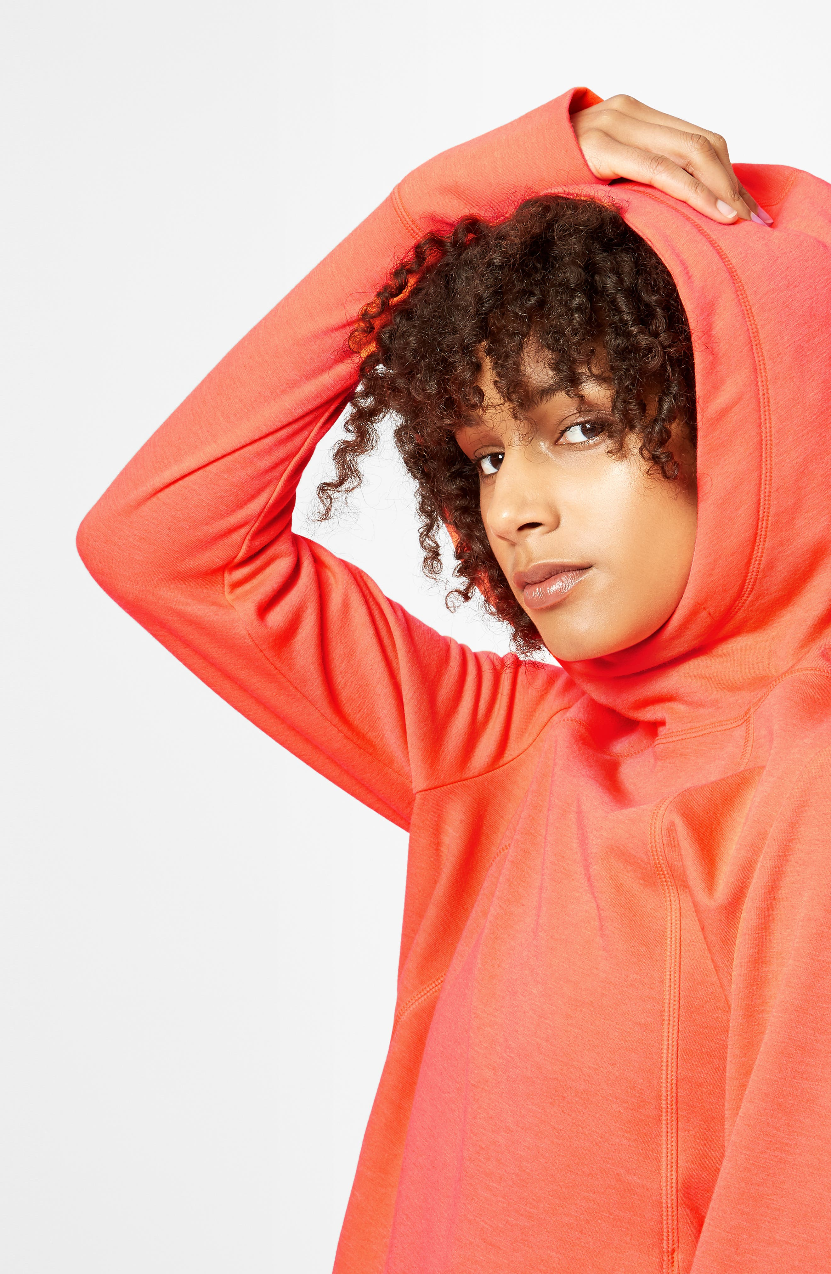 Pleated Tech Run Hoodie,                             Alternate thumbnail 9, color,                             CORAL