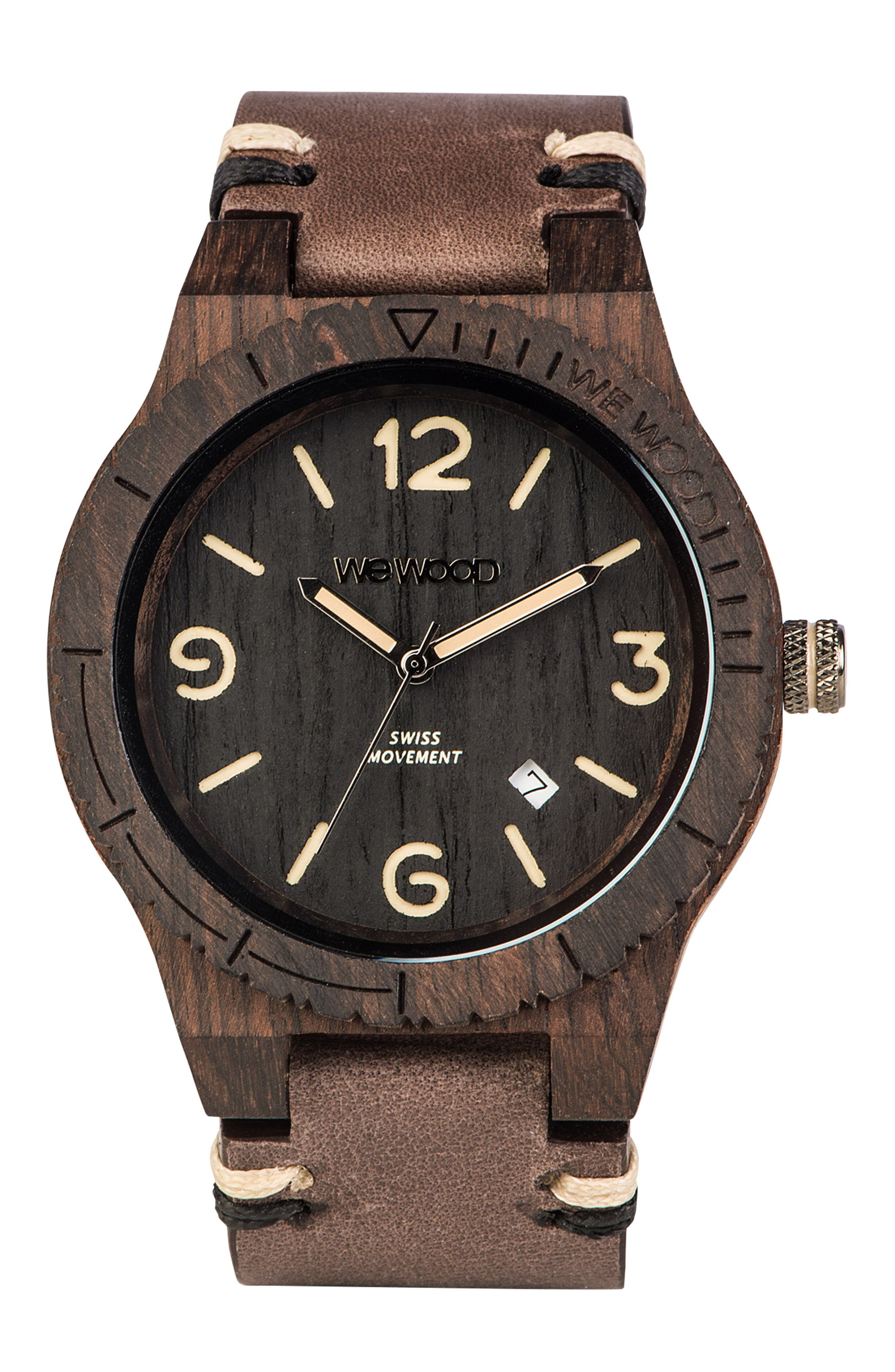 Alpha Wood Leather Strap Watch, 46mm,                         Main,                         color, 200