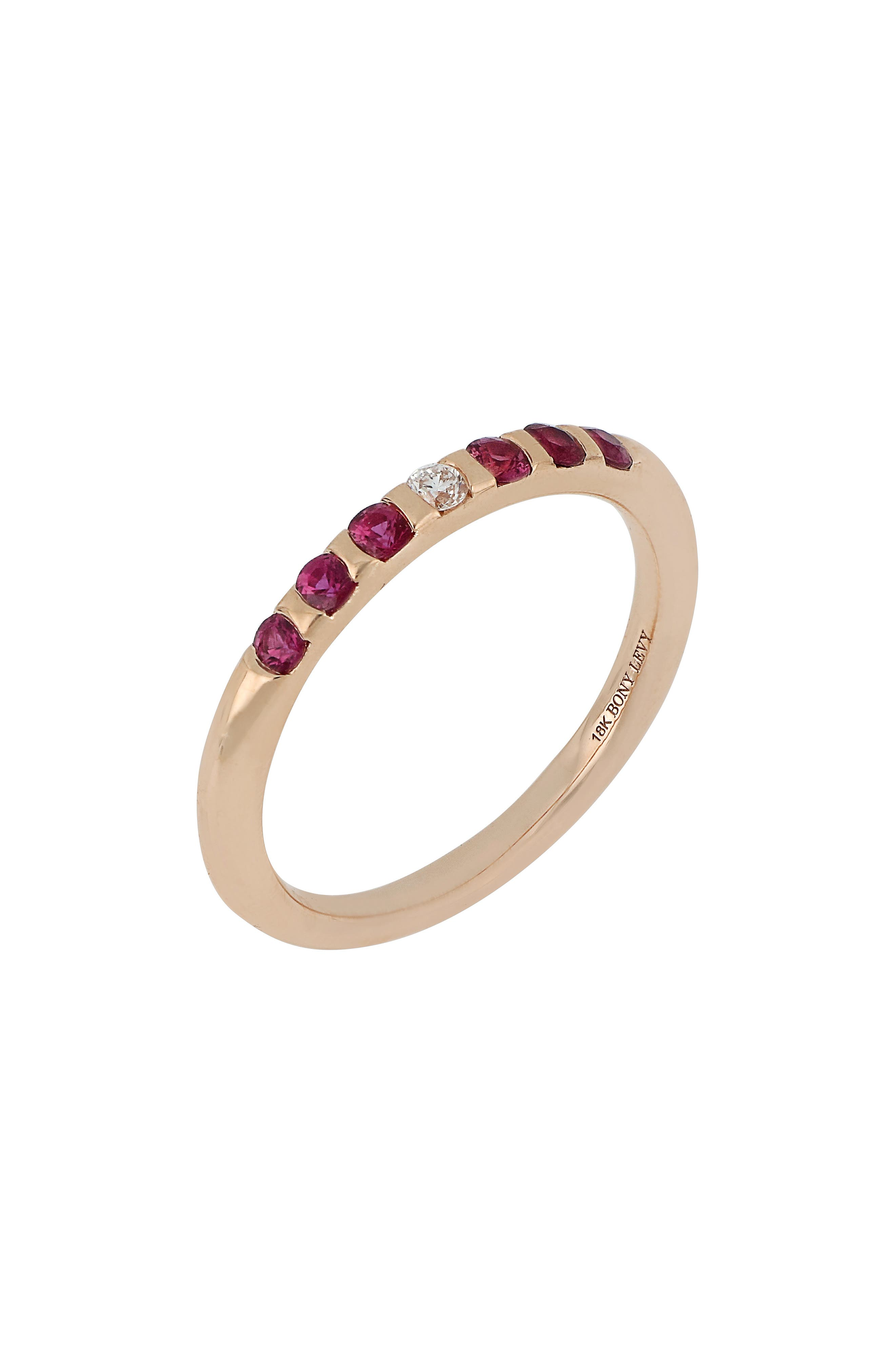 Ruby & Diamond Band Ring,                         Main,                         color, 651