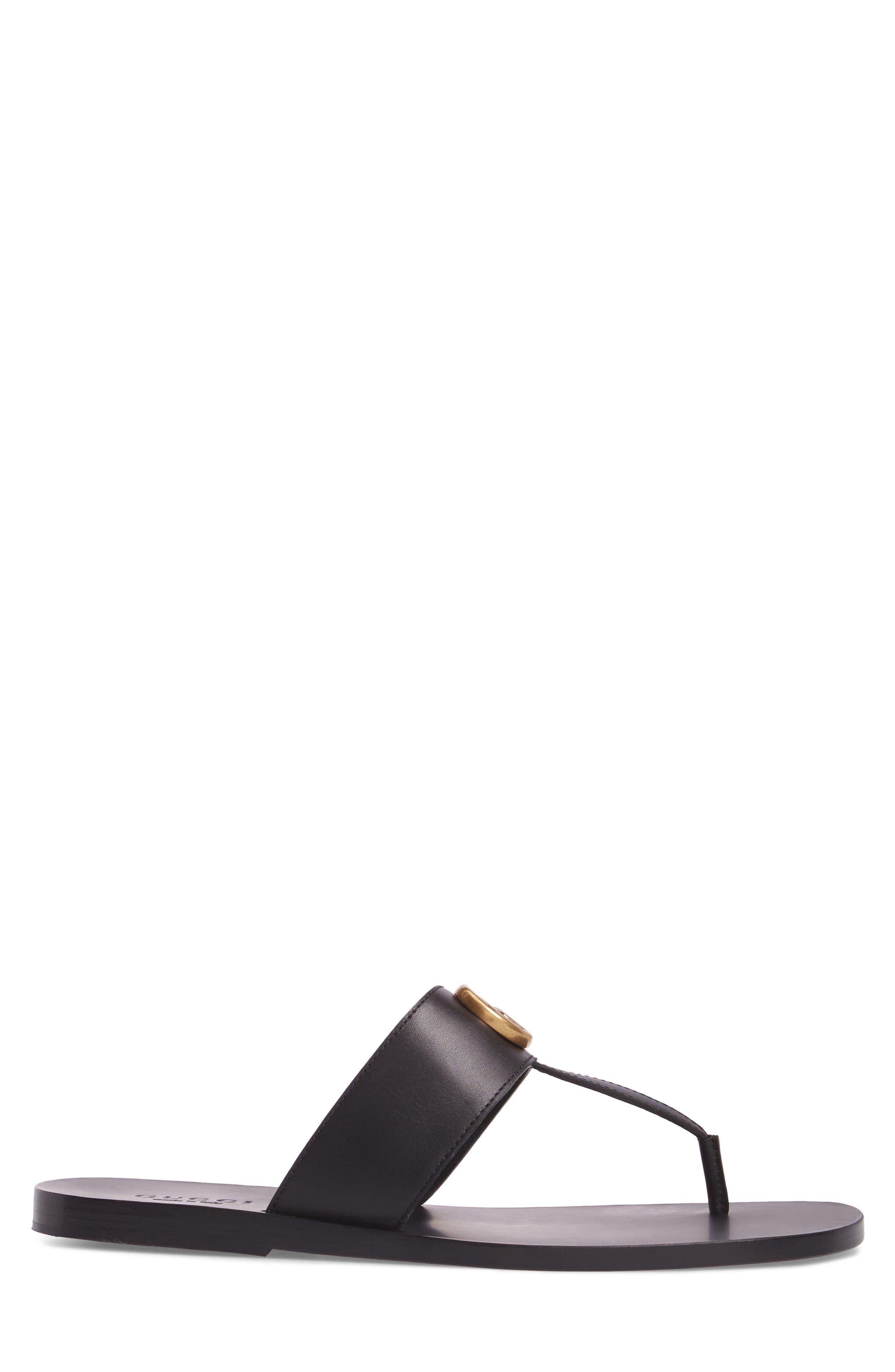 Marmont Double G Leather Thong Sandal,                             Alternate thumbnail 3, color,