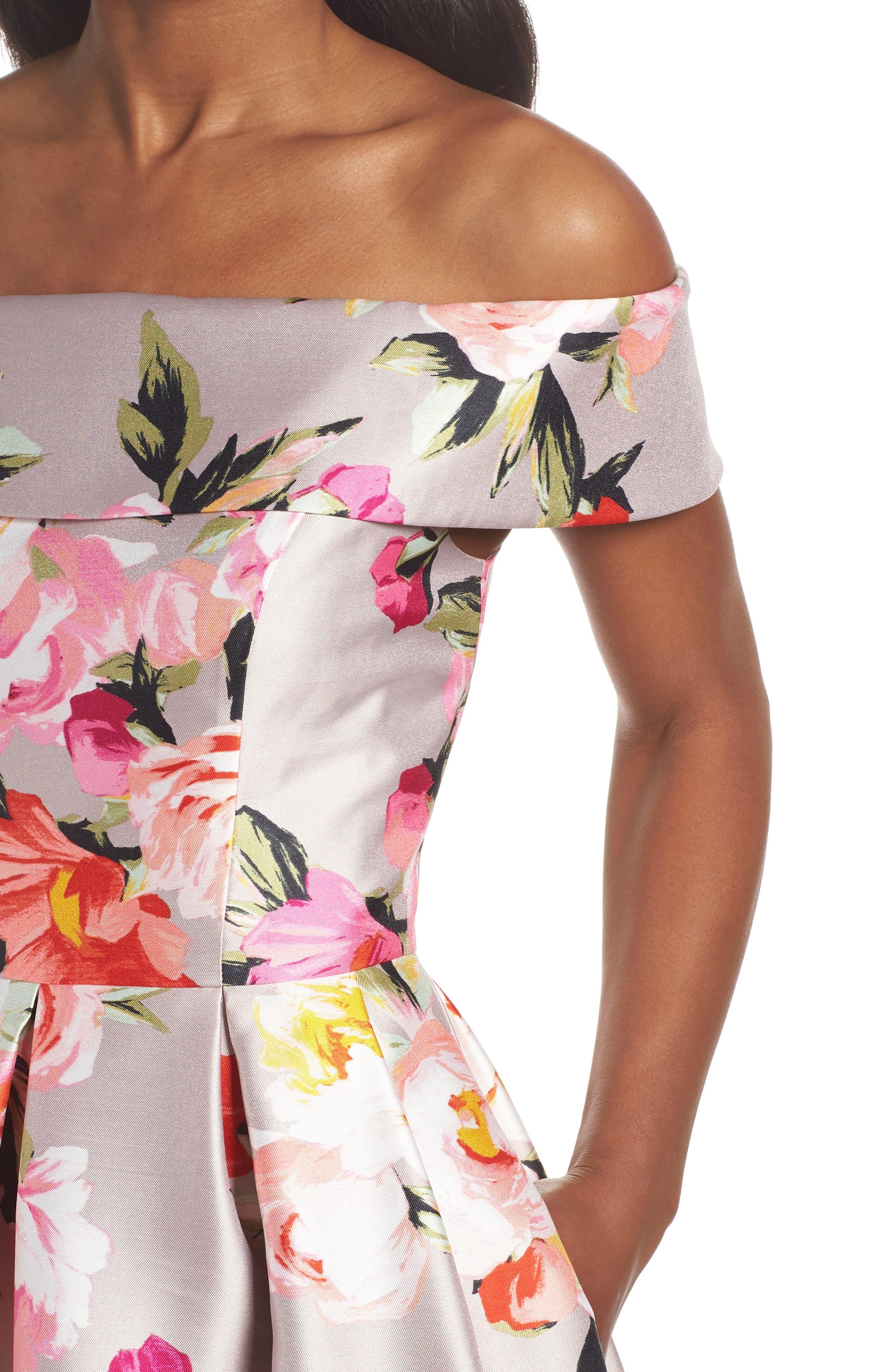 Floral Off the Shoulder Mikado Gown,                             Alternate thumbnail 6, color,                             254