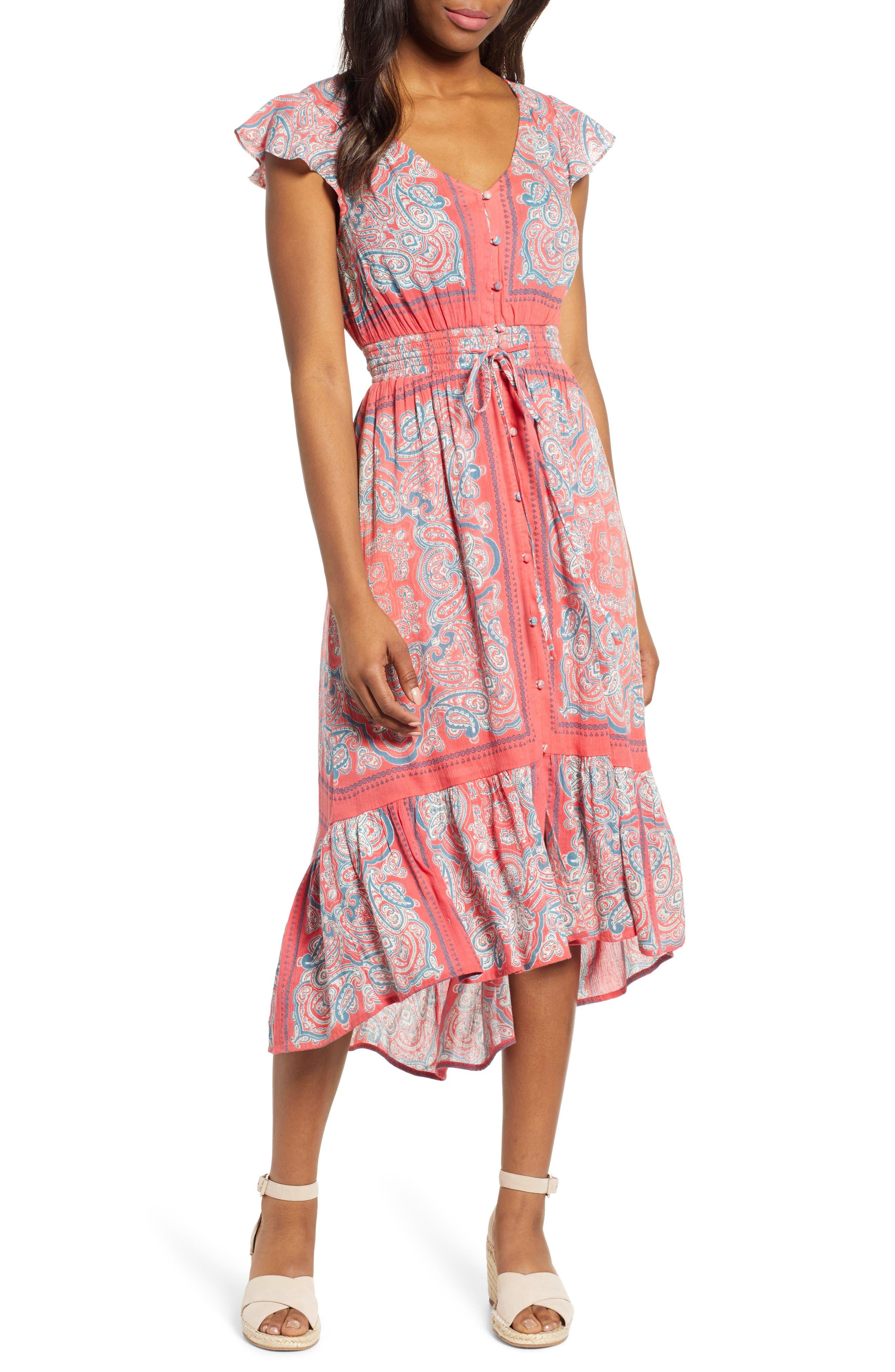 Lucky Brand Felice Border Print Cotton Blend Dress, Red