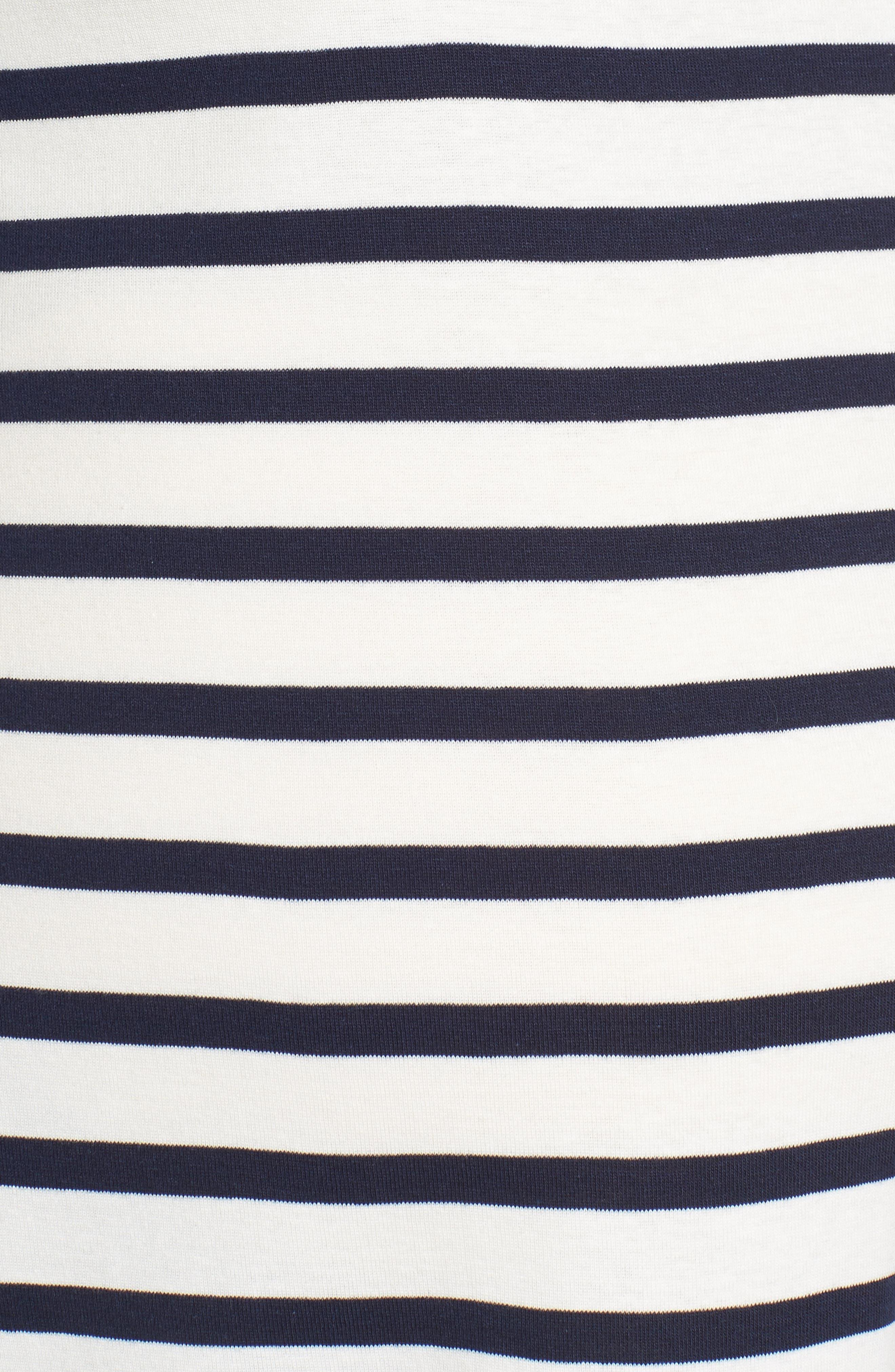 Caia Stripe Maternity Top,                             Alternate thumbnail 5, color,                             NAVY/ WHITE STRIPE