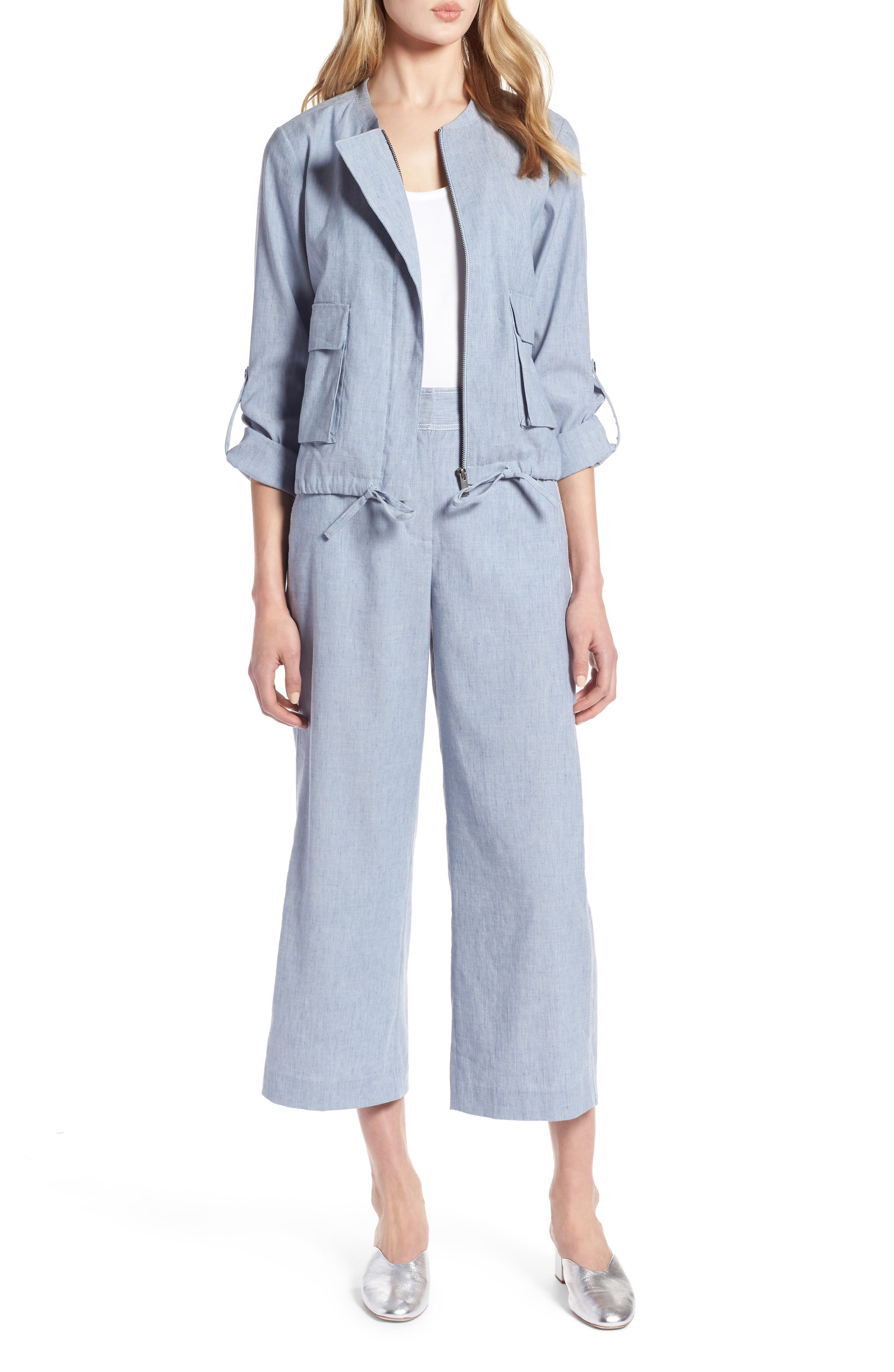 Linen Blend Chambray Tie Waist Jacket,                             Main thumbnail 1, color,