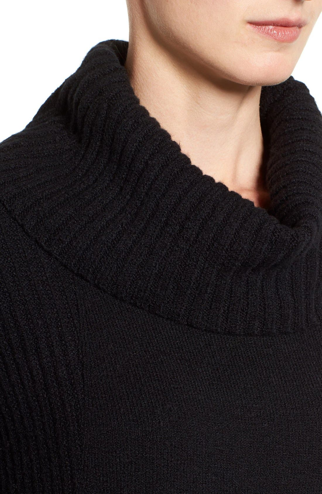 Cozy Rib Detail Relaxed Turtleneck,                             Alternate thumbnail 2, color,                             BLACK