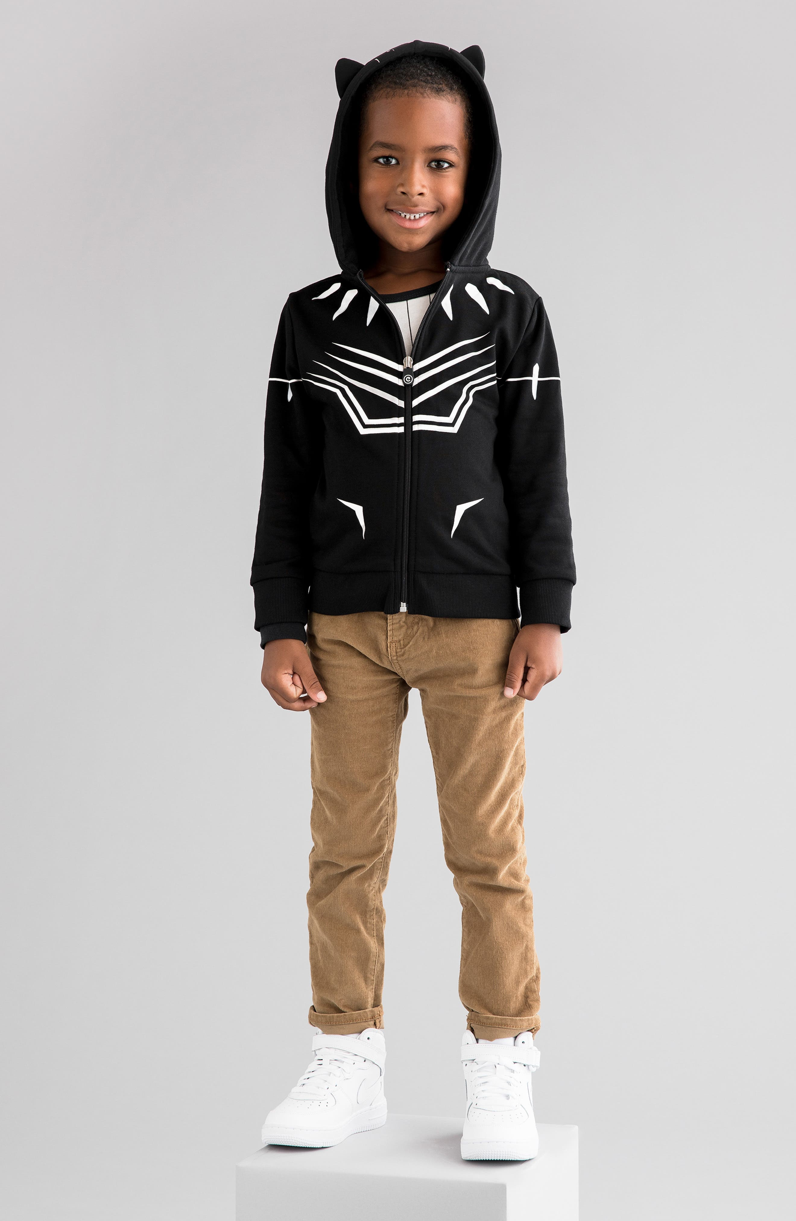 Marvel<sup>®</sup> 2018 Black Panther<sup>®</sup> 2-in-1 Stuffed Animal Hoodie,                             Alternate thumbnail 10, color,                             BLACK