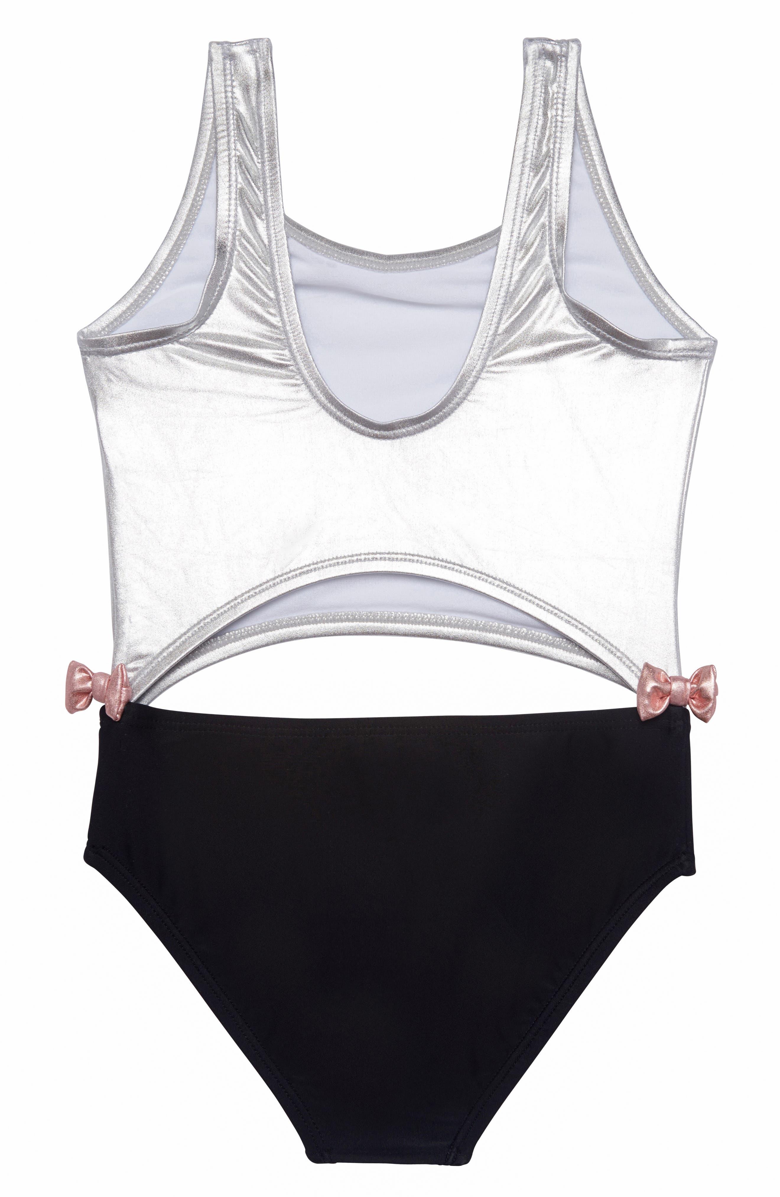 Colorblock One-Piece Swimsuit,                             Alternate thumbnail 2, color,                             BLACK