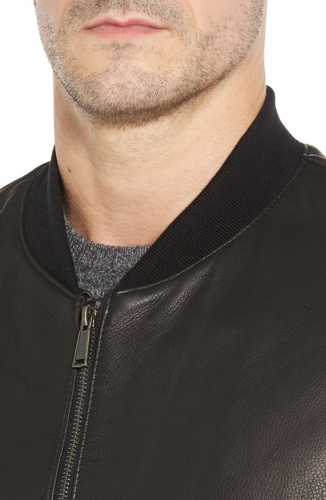 Leather Varsity Jacket,                             Alternate thumbnail 4, color,