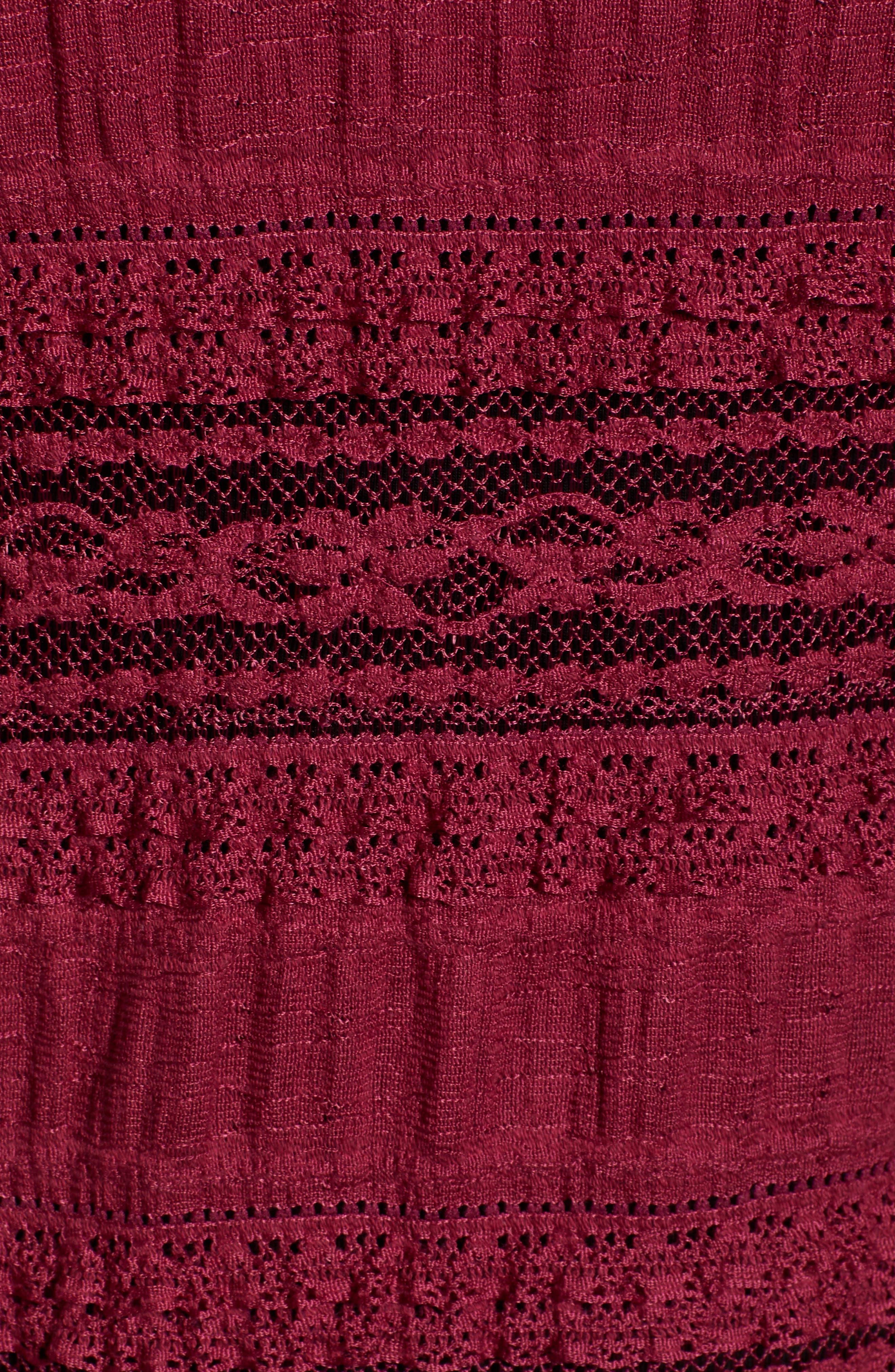 HINGE,                             Lace Inset Turtleneck,                             Alternate thumbnail 5, color,                             BURGUNDY PLUM