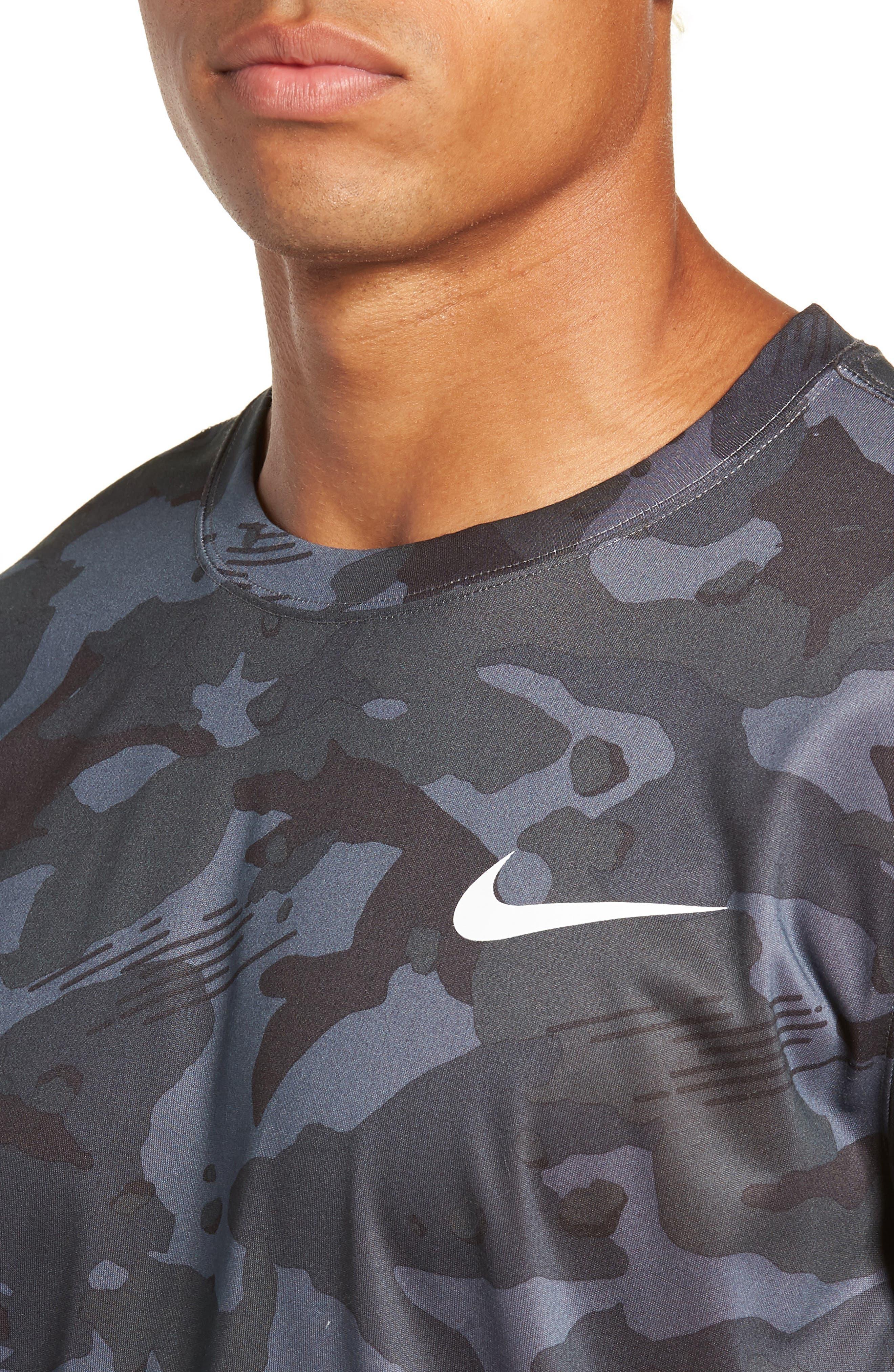 Dry Long Sleeve Camo T-Shirt,                             Alternate thumbnail 4, color,                             DARK GREY/ WHITE