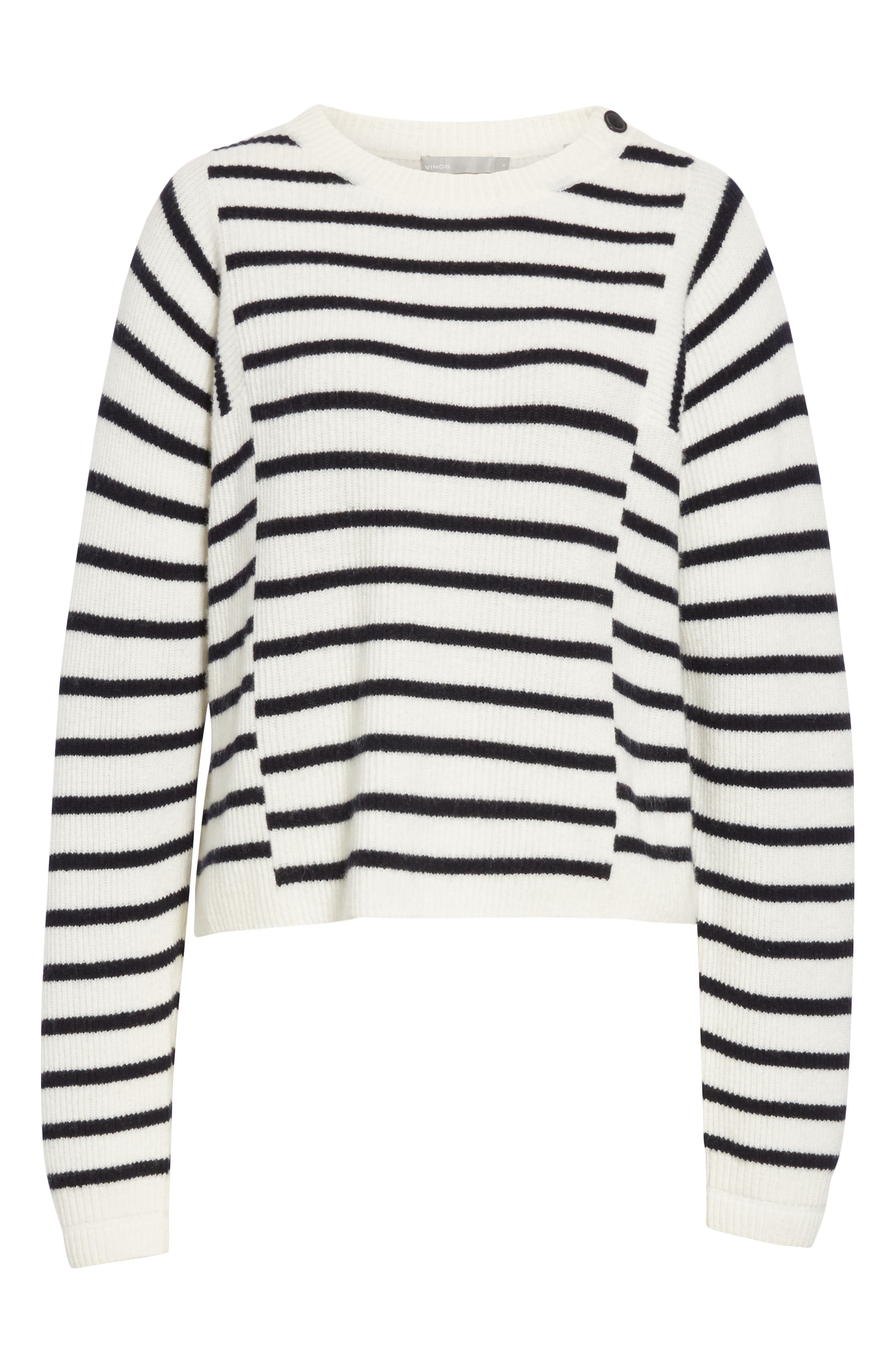 Mixed Stripe Sweater,                             Alternate thumbnail 6, color,                             OFF WHITE/ COASTAL