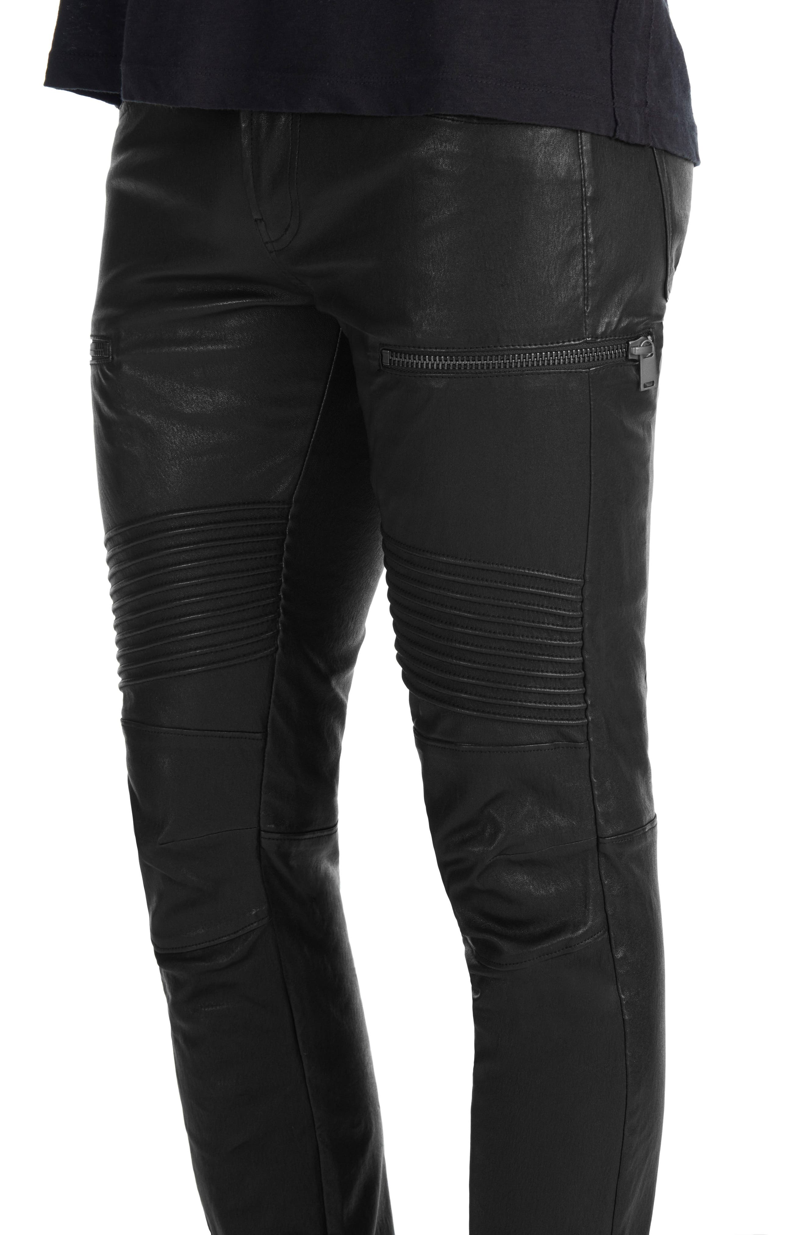 Acrux Skinny Leg Leather Pants,                             Alternate thumbnail 4, color,