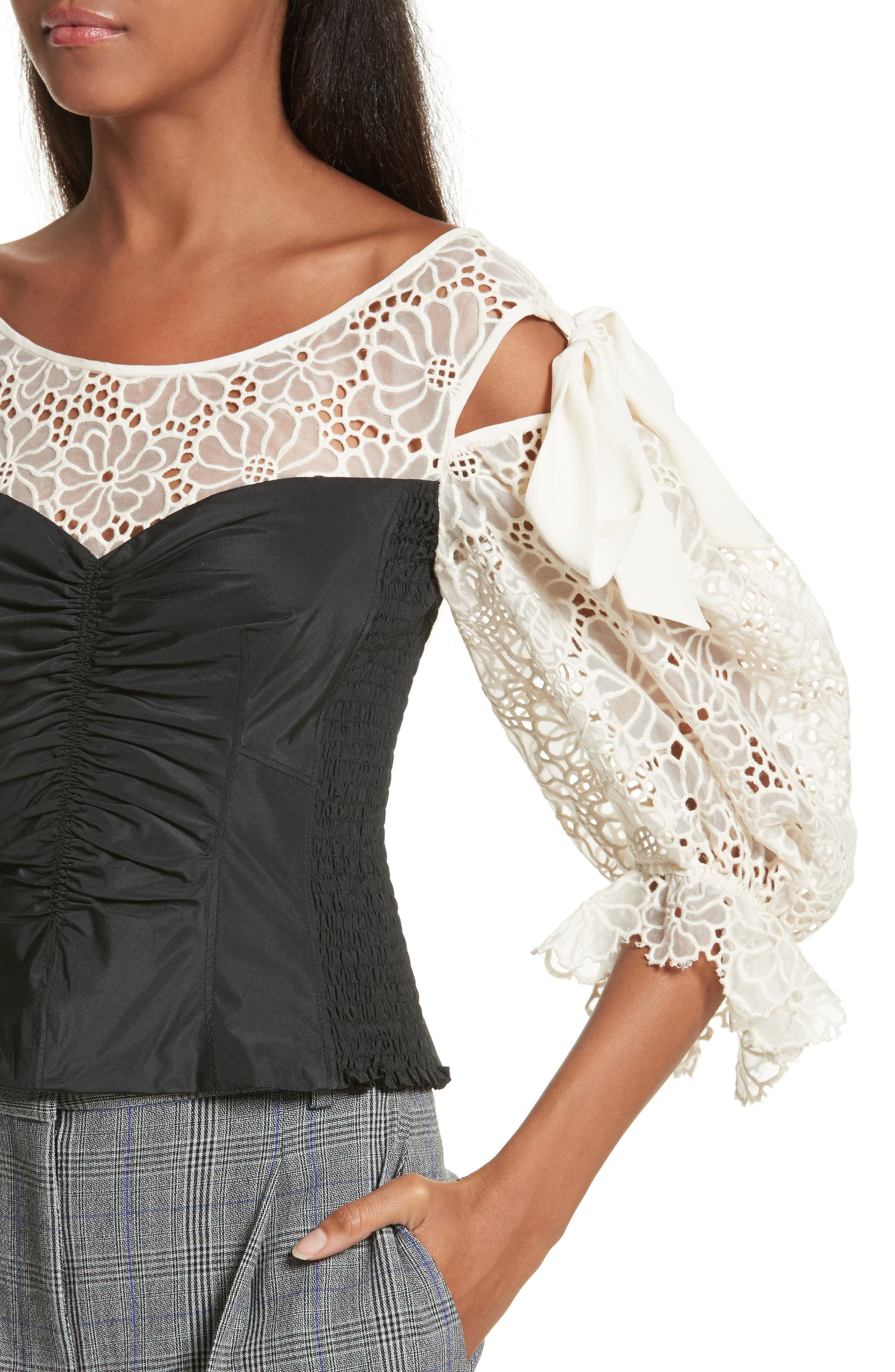 Malorie Embroidered Eyelet Top,                             Alternate thumbnail 4, color,                             114