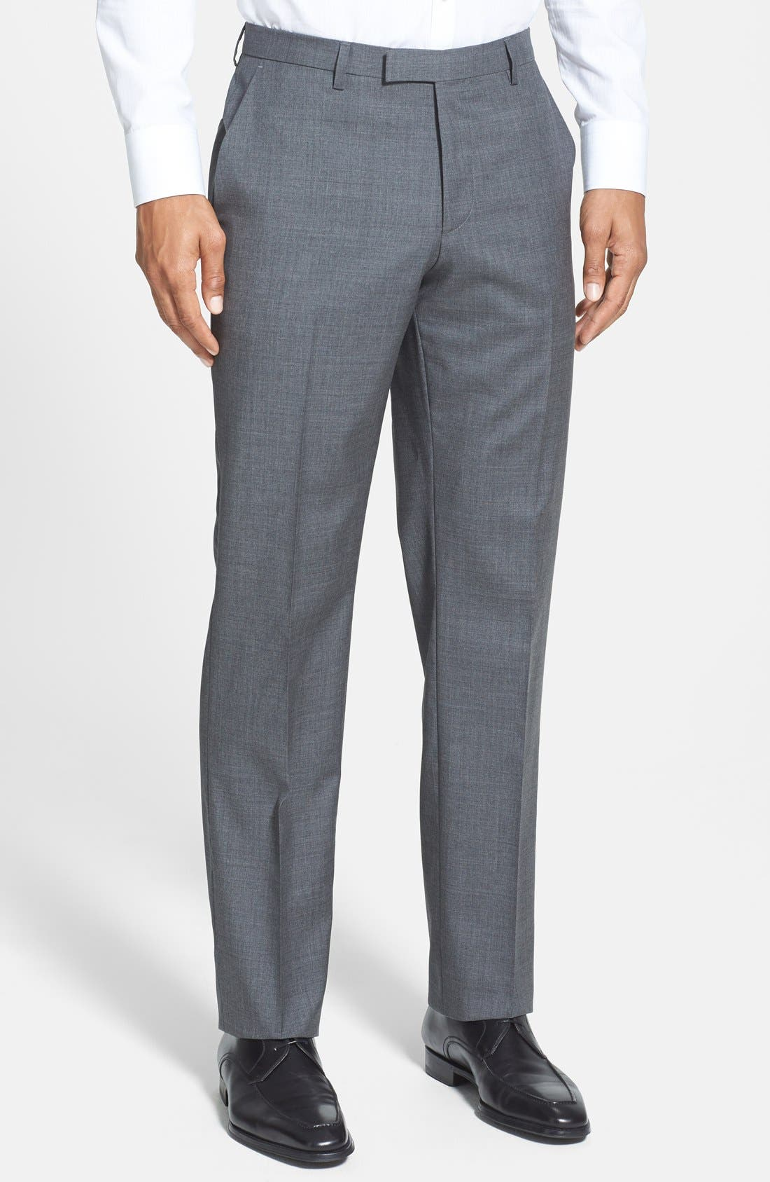 ZZDNUHUGO BOSS,                             BOSS 'Sharp' Slim Fit Flat Front Wool Trousers,                             Main thumbnail 1, color,                             060