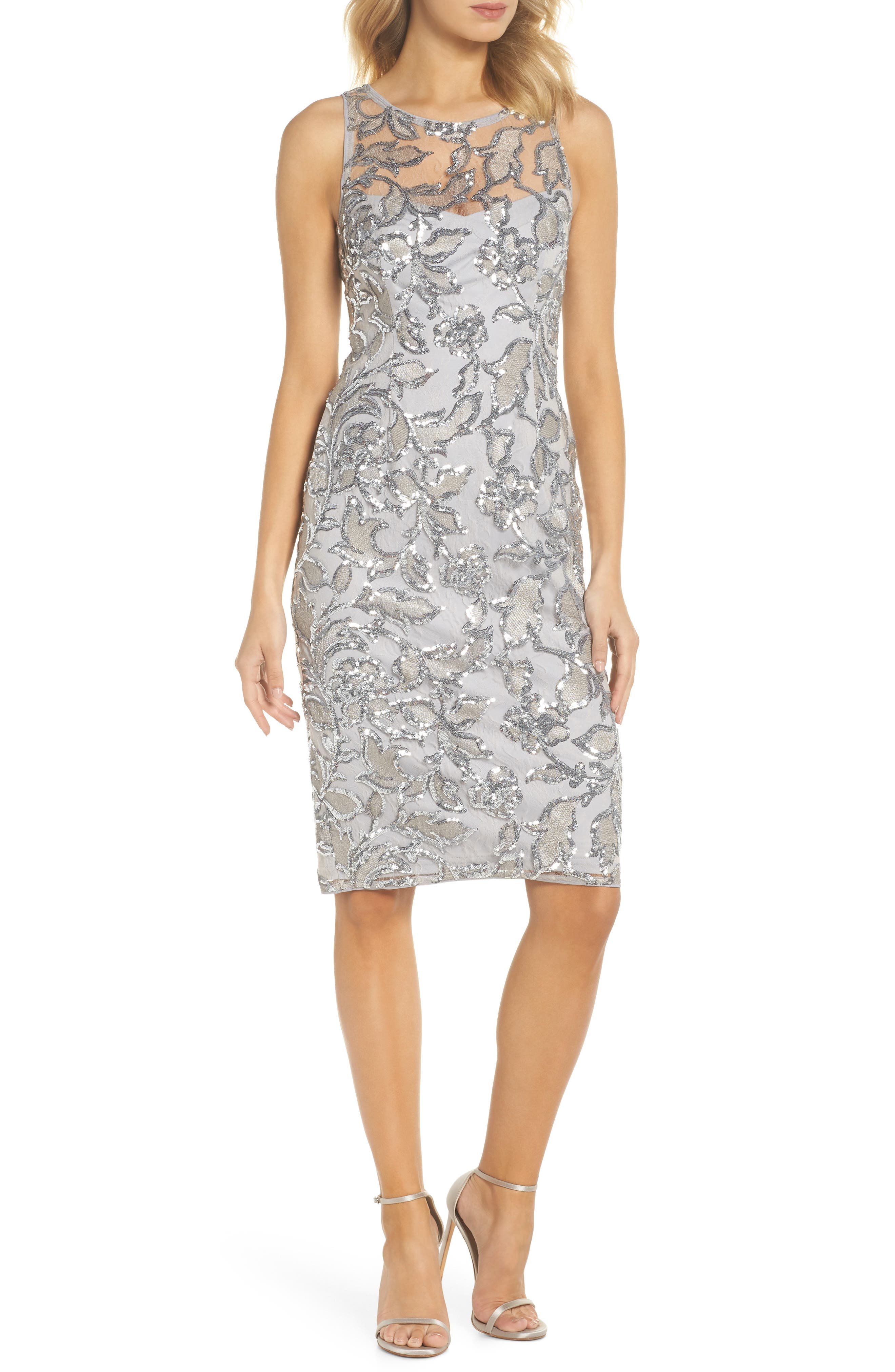 Floral Sequin Sheath Dress,                         Main,                         color, SILVER