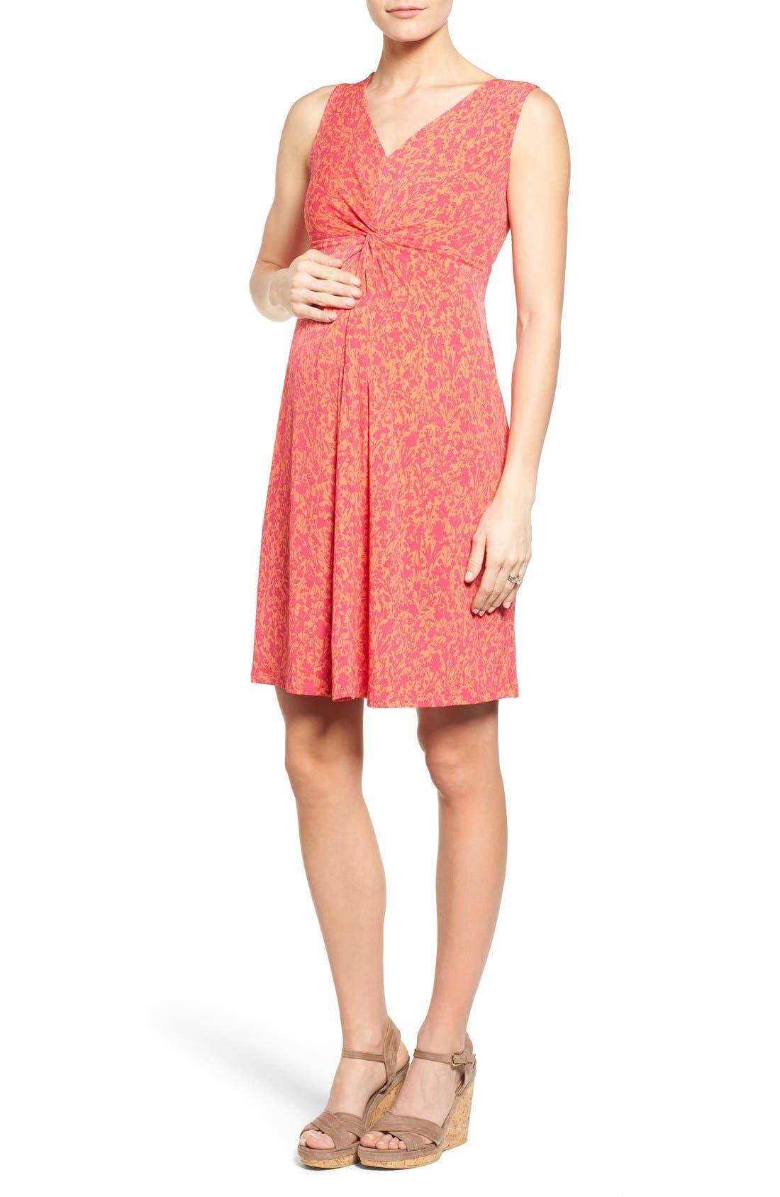 Leota Sleeveless Maternity Dress, Orange