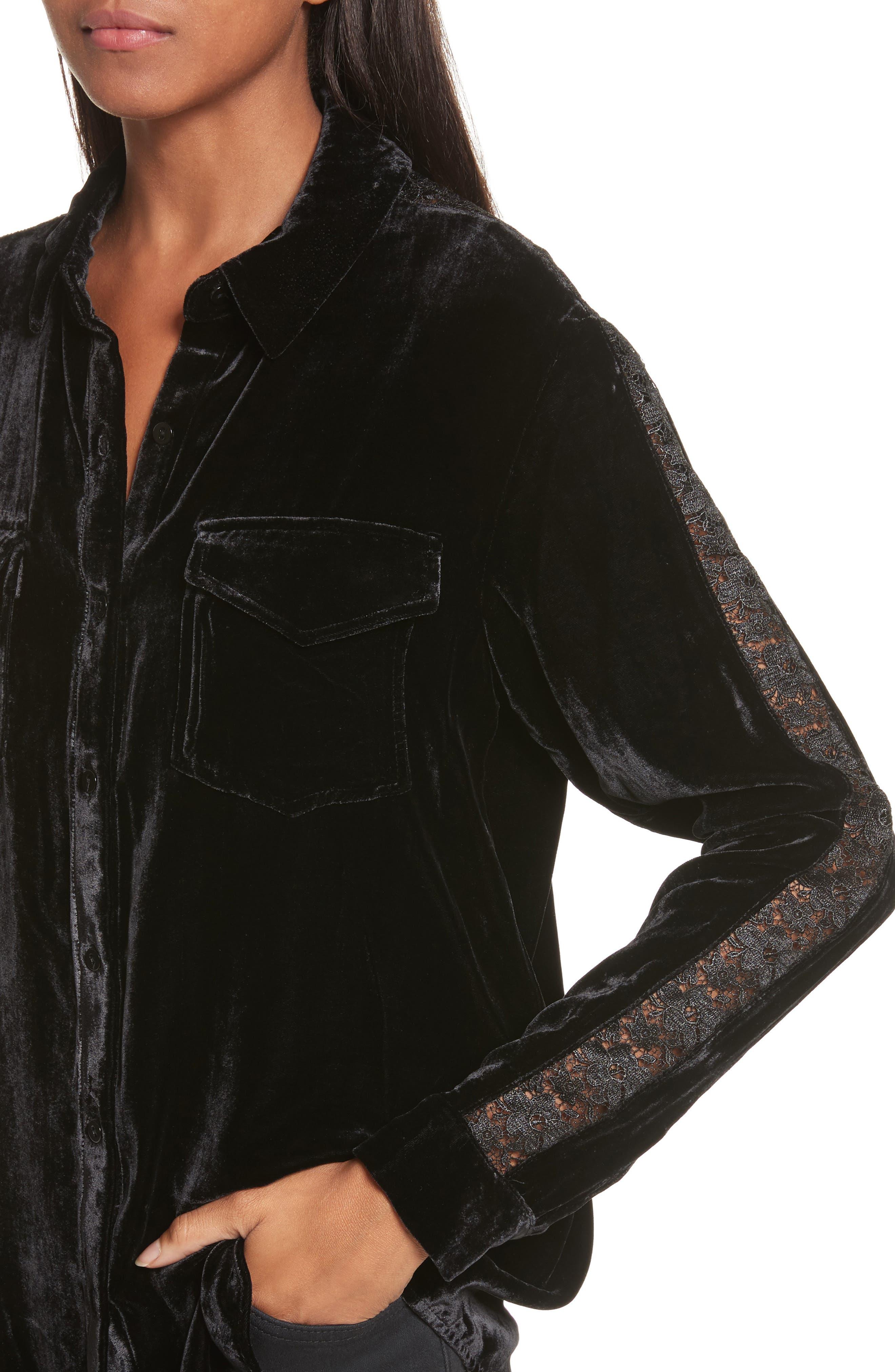 Lace Trim Velvet Shirt,                             Alternate thumbnail 4, color,                             001