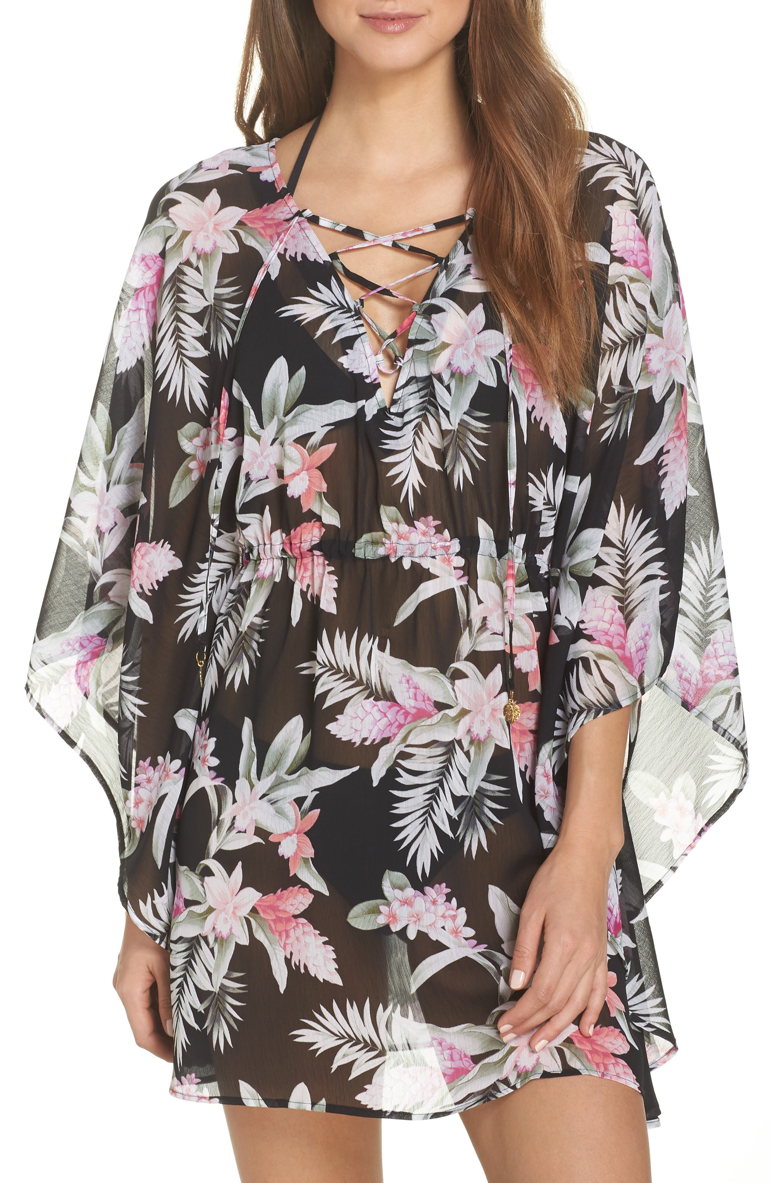 Ginger Flowers Open-Back Lace-Up Tunic in Black