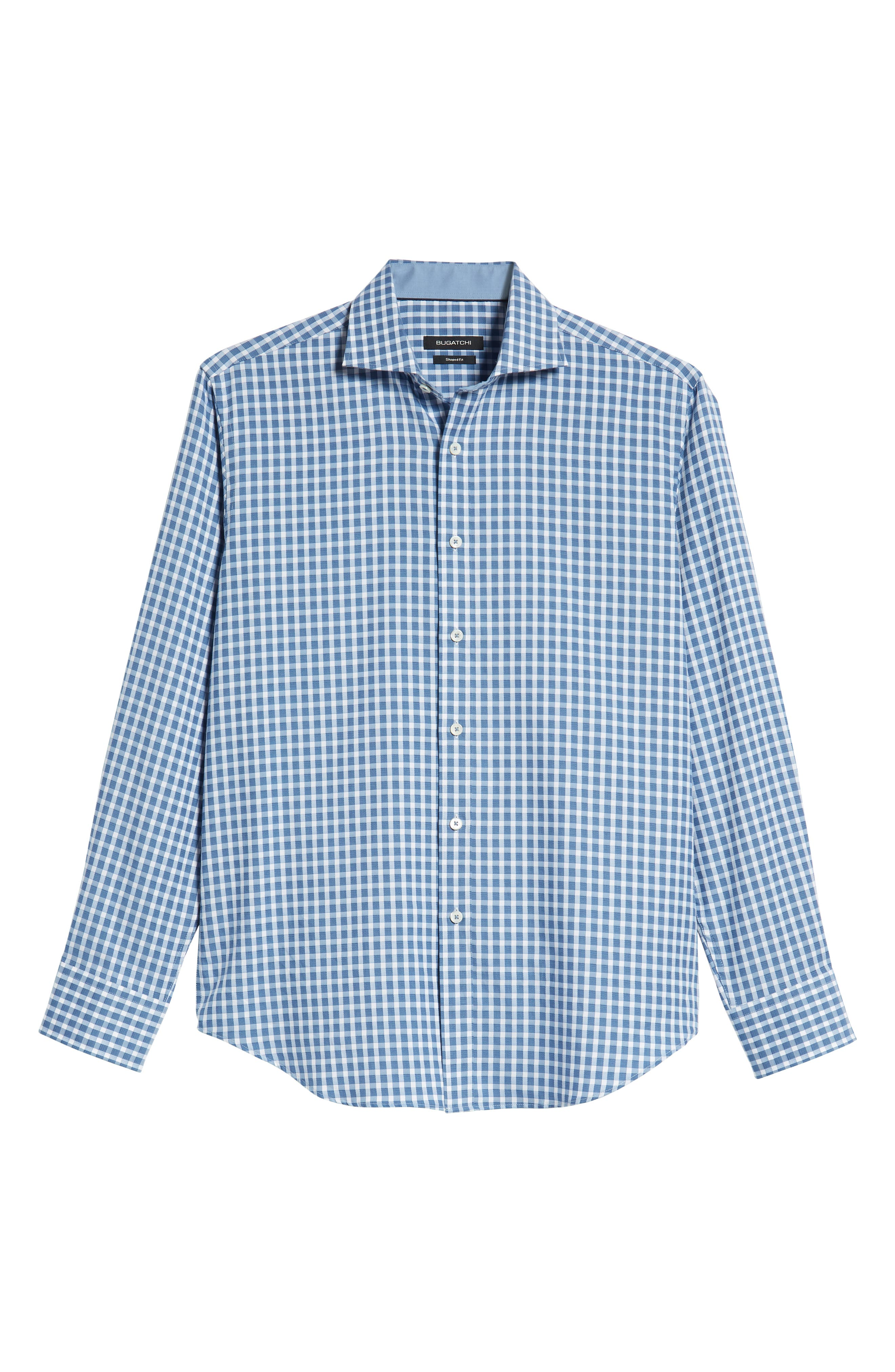 Shaped Fit Check Sport Shirt,                             Alternate thumbnail 5, color,                             AIR BLUE