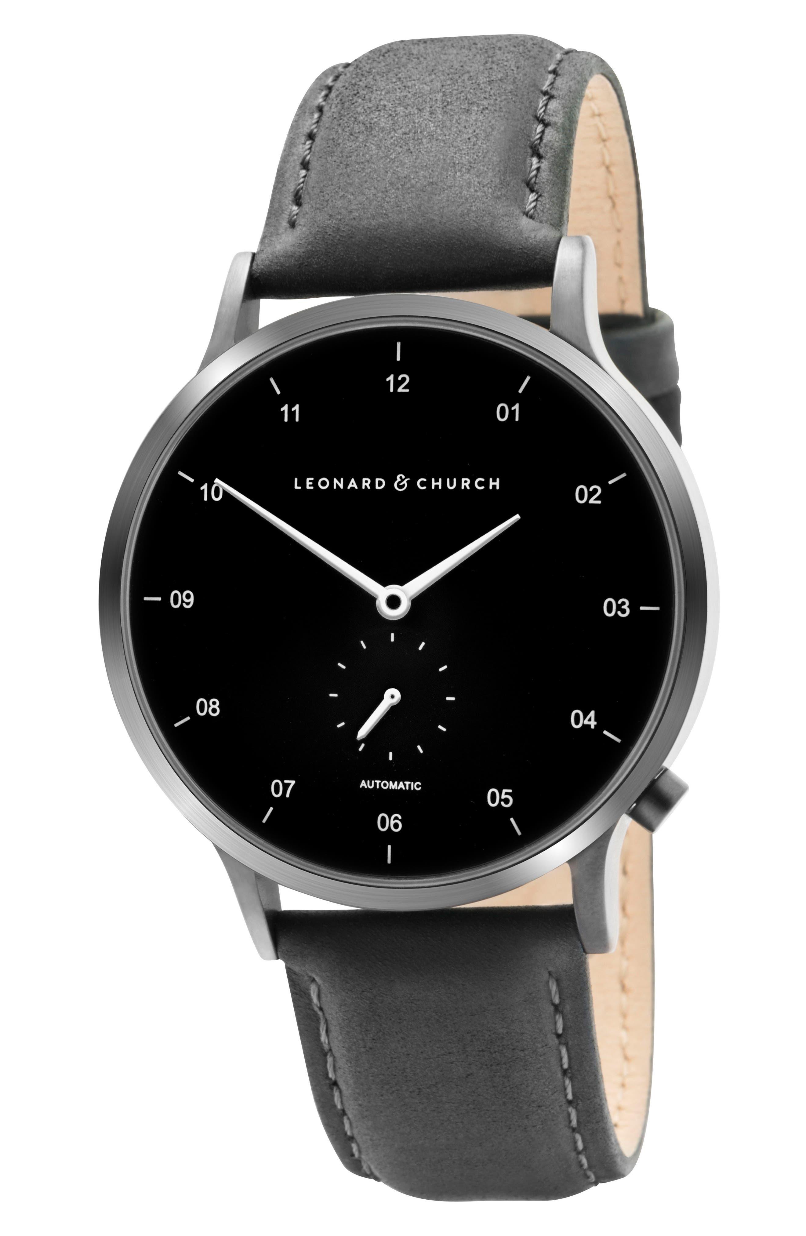 Leonard & Church Sullivan Automatic Suede Strap Watch, 39mm,                             Alternate thumbnail 7, color,                             BLACK