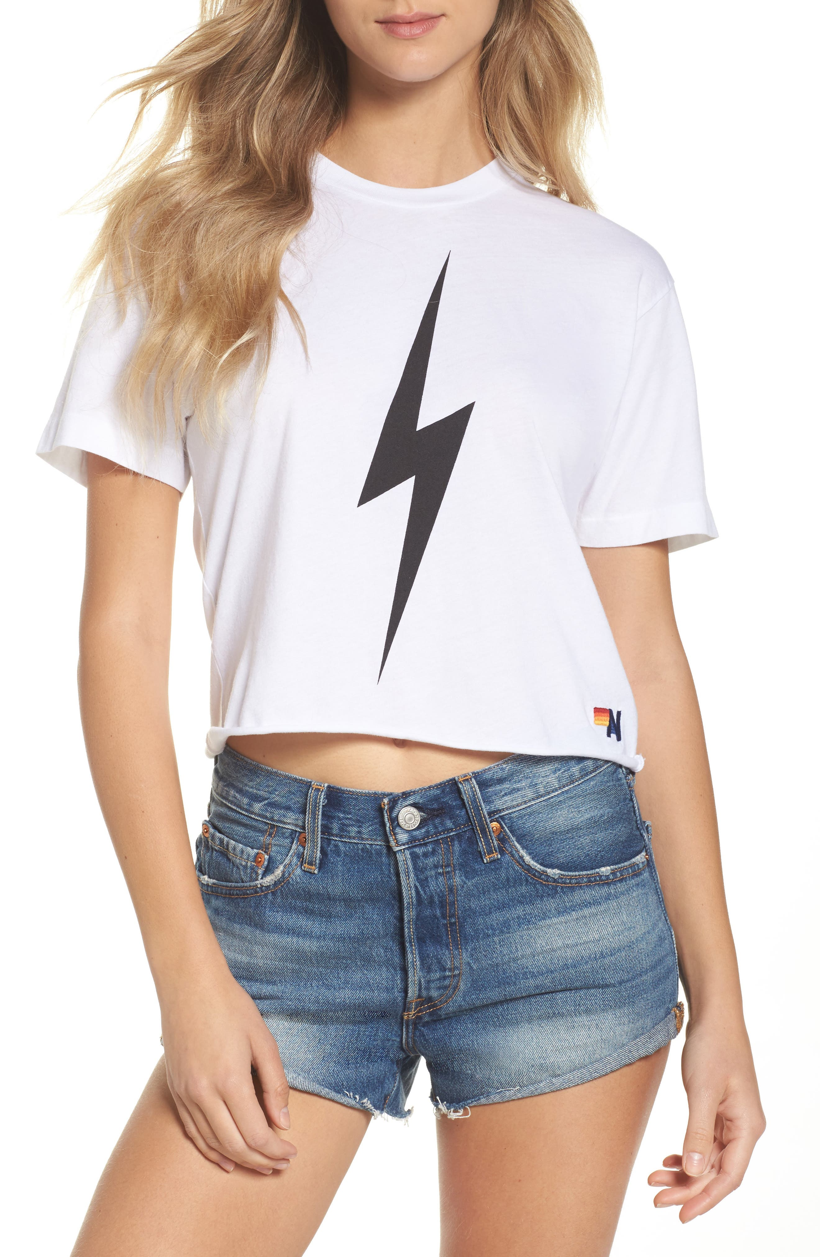 Bolt Crop Tee,                         Main,                         color, WHITE