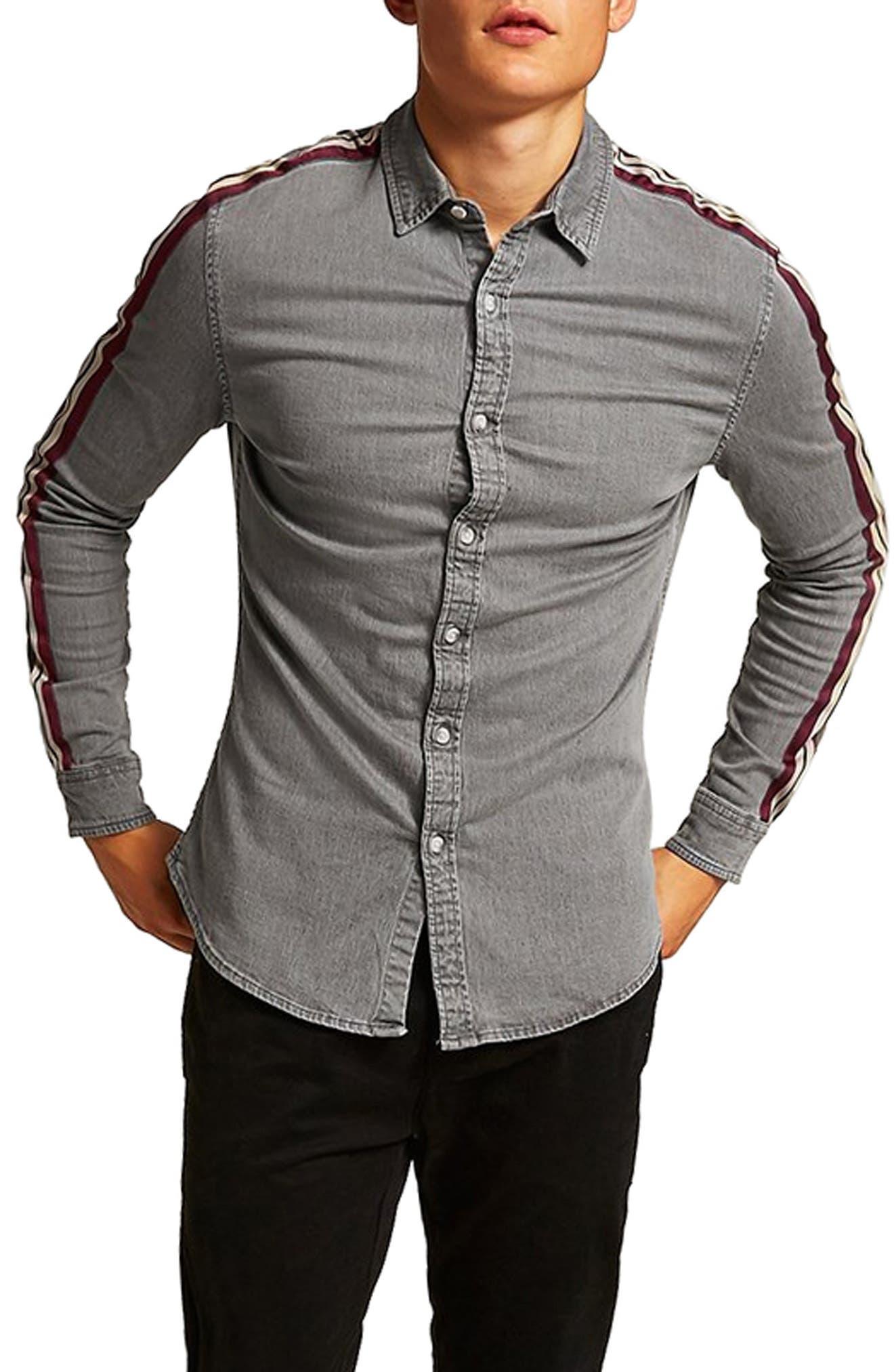 Taping Denim Shirt,                         Main,                         color, GREY MULTI