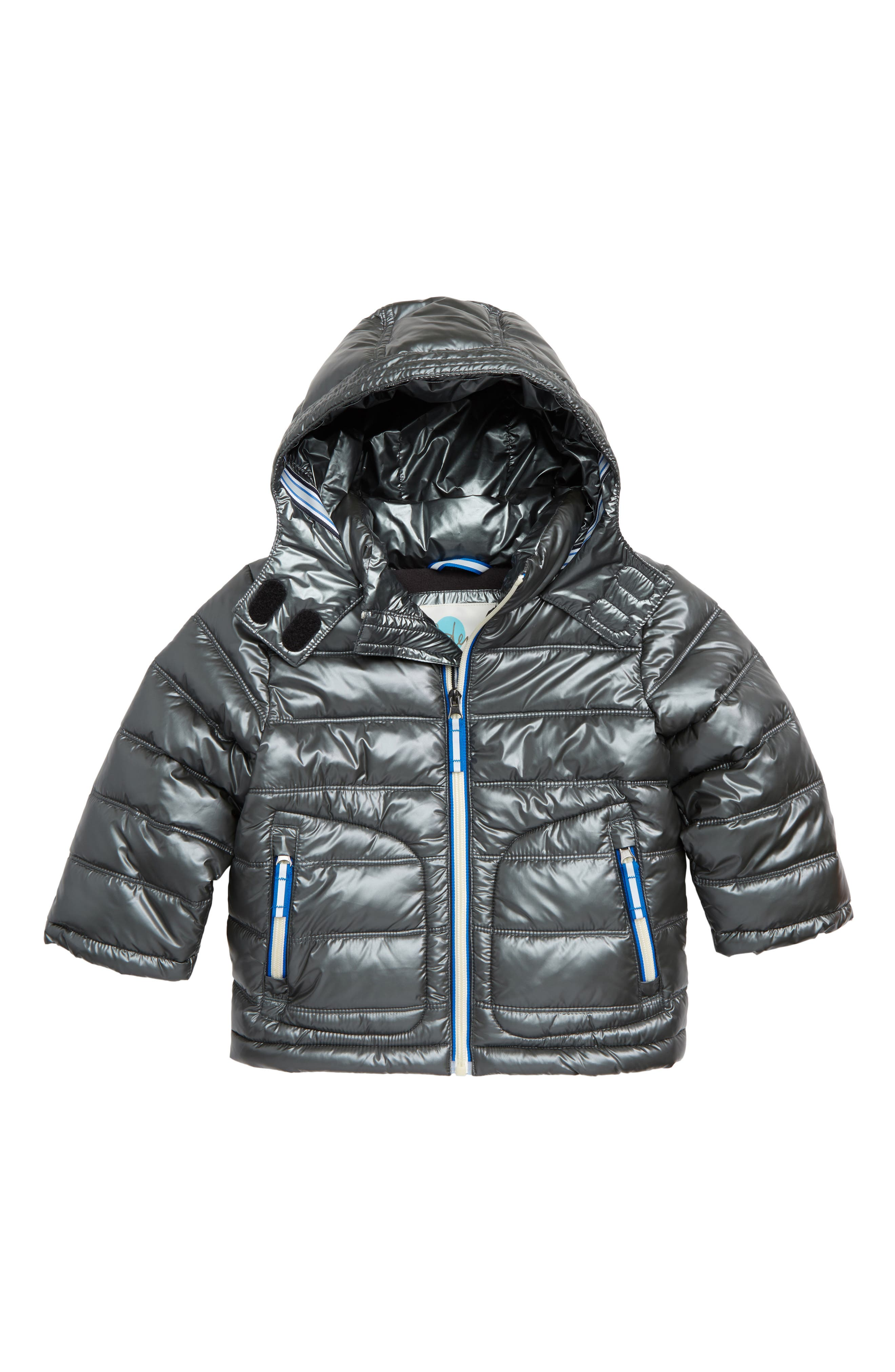 Padded Hooded Jacket,                         Main,                         color, GREY
