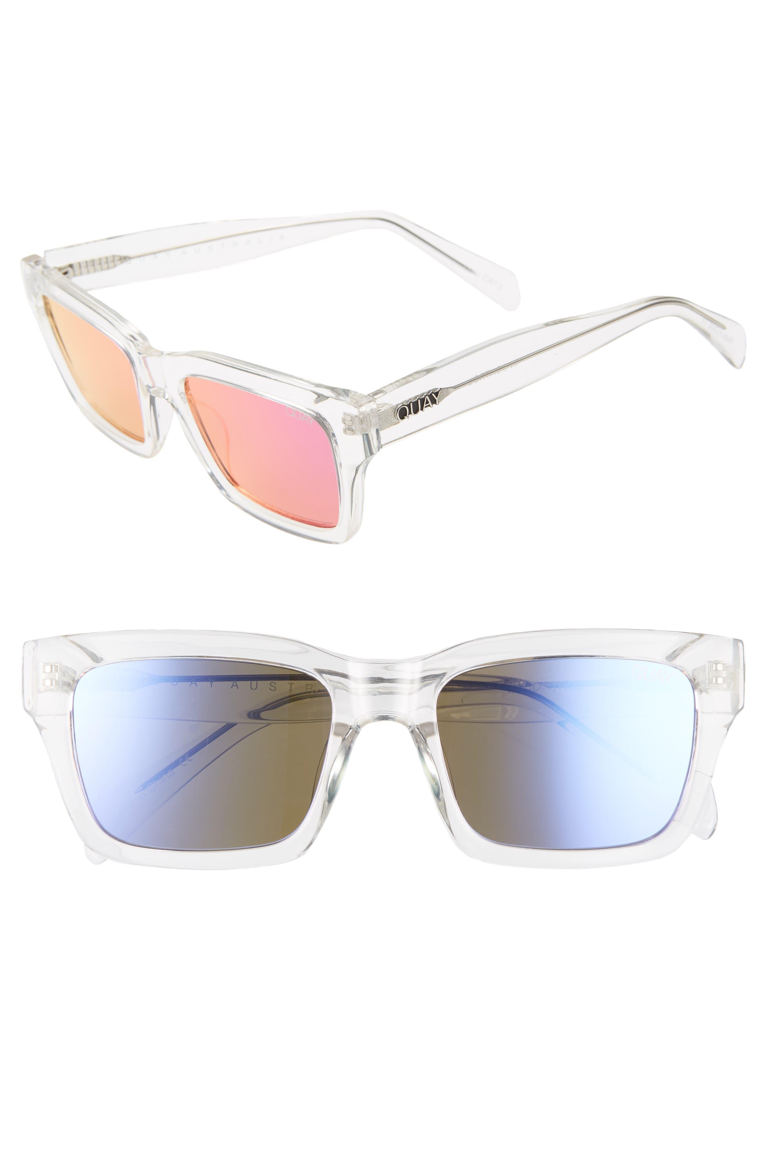 Quay Australia In Control 4m Rectangle Sunglasses - Clear/ Purple Pink