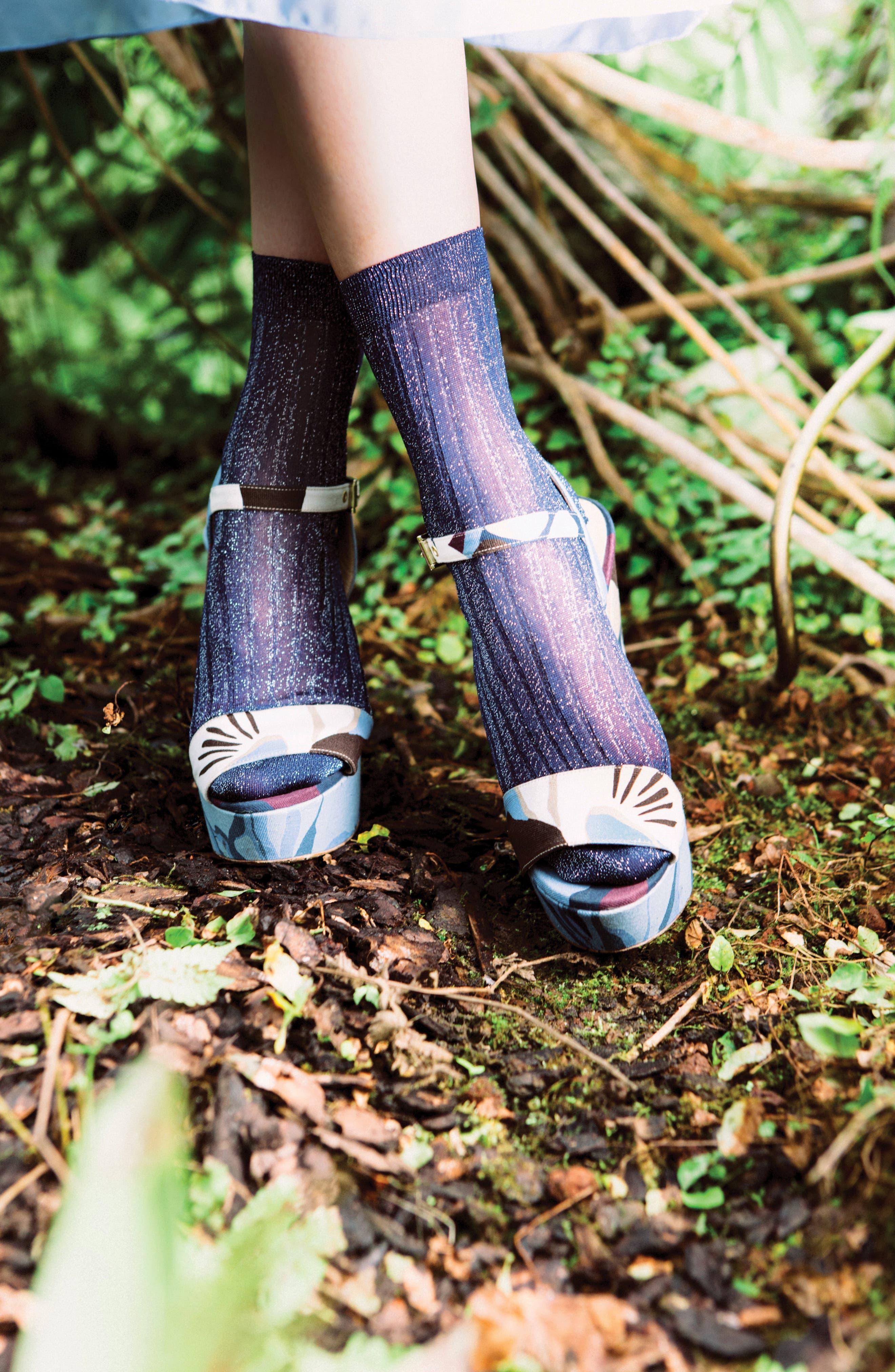Costina Metallic Ankle Socks,                             Alternate thumbnail 4, color,                             040