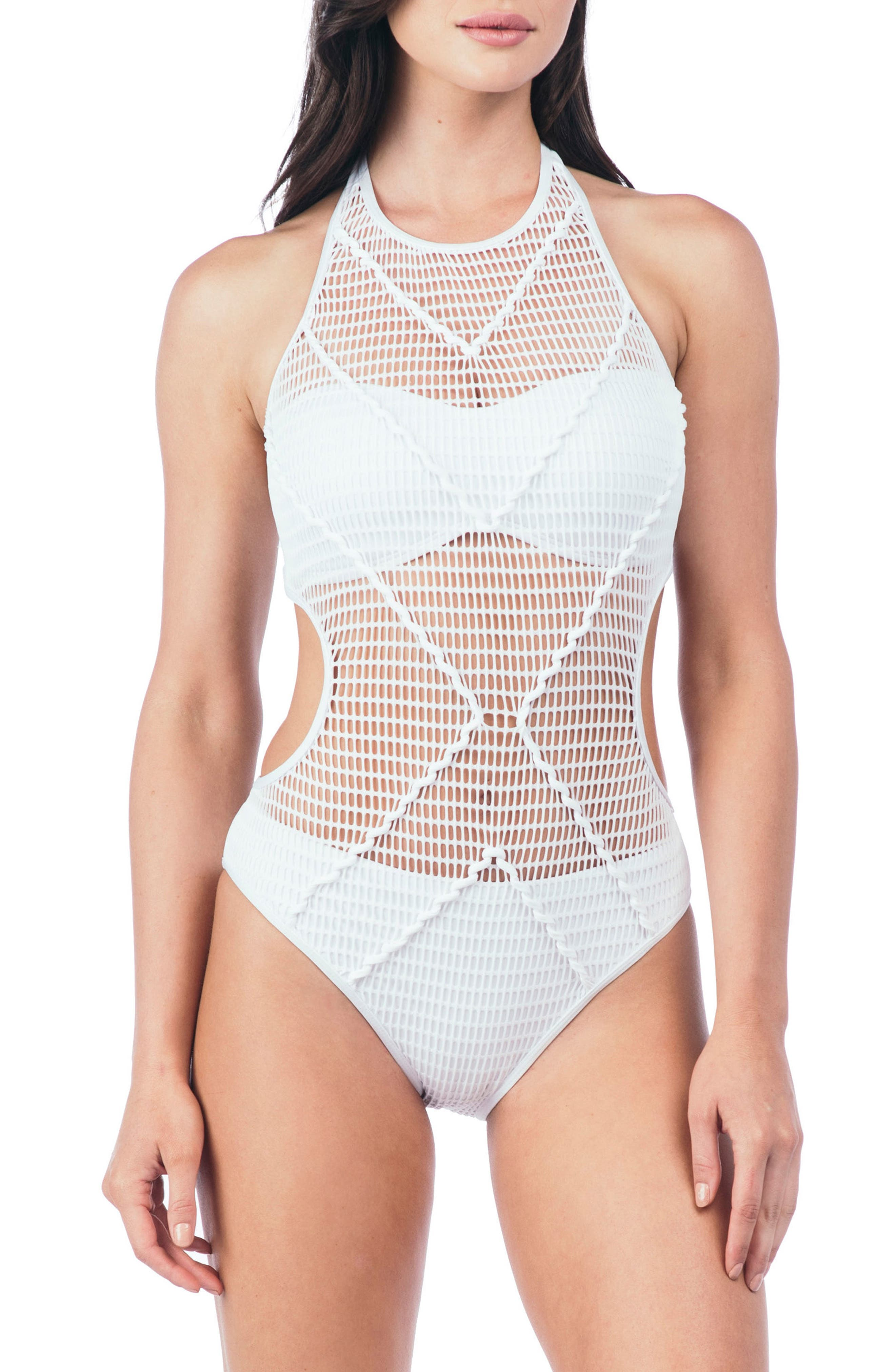 Wrapped in Love One-Piece Swimsuit,                             Main thumbnail 1, color,                             WHT