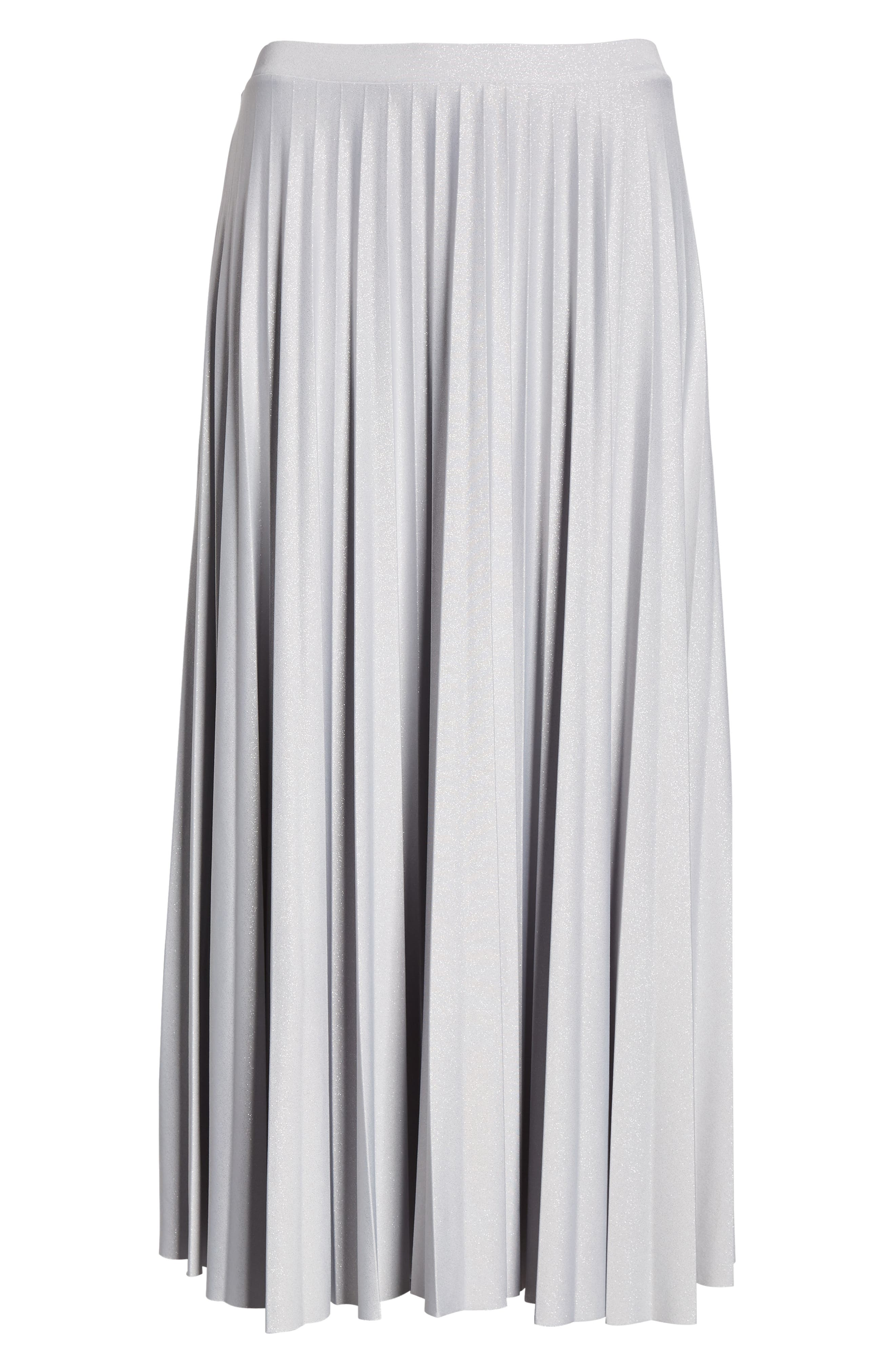 Metallic Pleat Midi Skirt,                             Alternate thumbnail 6, color,                             GREY- SILVER FOIL