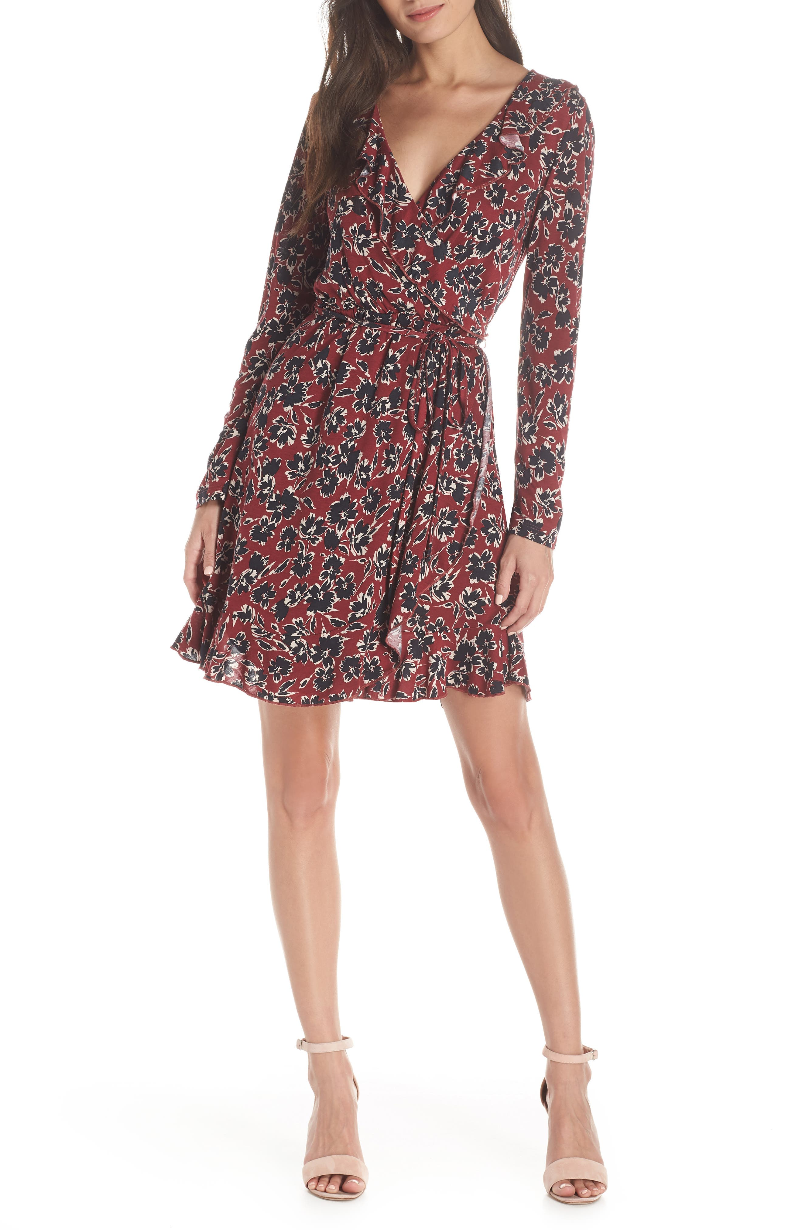 FRENCH CONNECTION,                             Aubi Meadow Jersey Dress,                             Main thumbnail 1, color,                             ROSSO RED MULTI