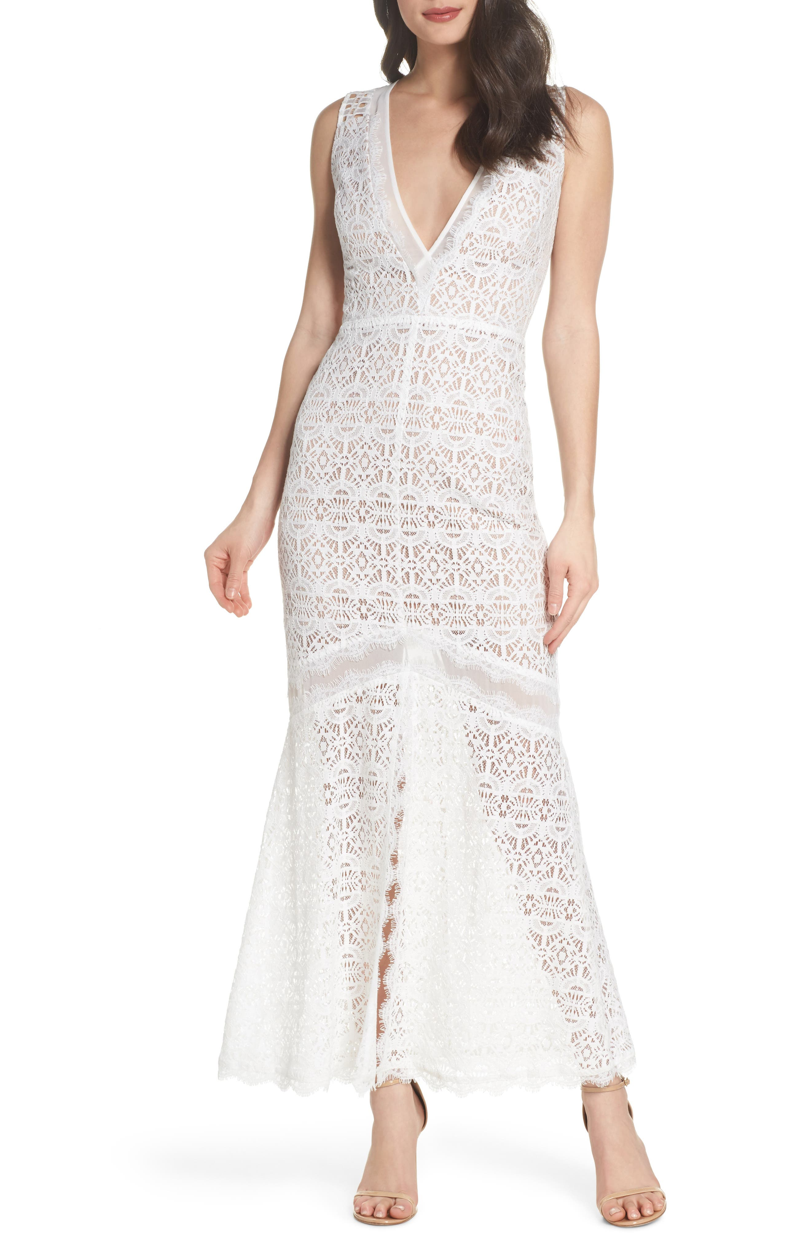 V-Neck Lace Trumpet Gown,                         Main,                         color, OFF WHITE