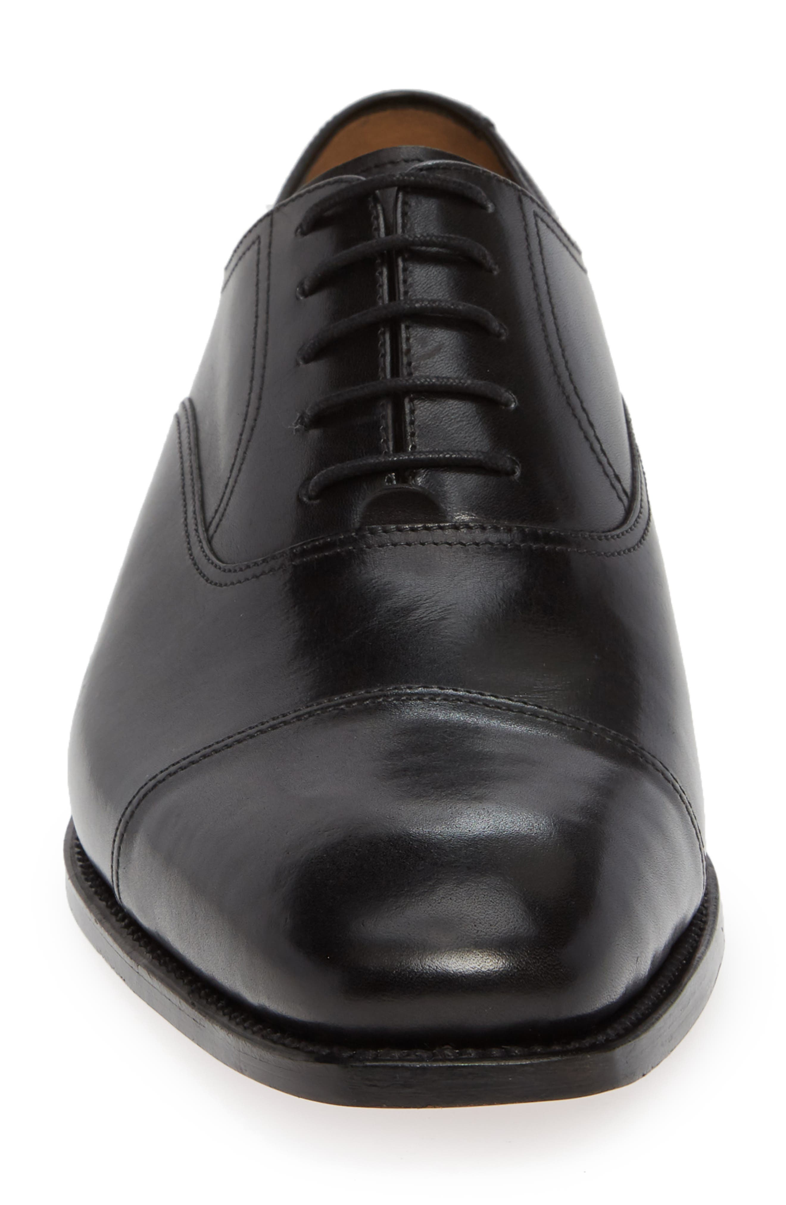 Tiburon Cap Toe Oxford,                             Alternate thumbnail 4, color,                             BLACK LEATHER