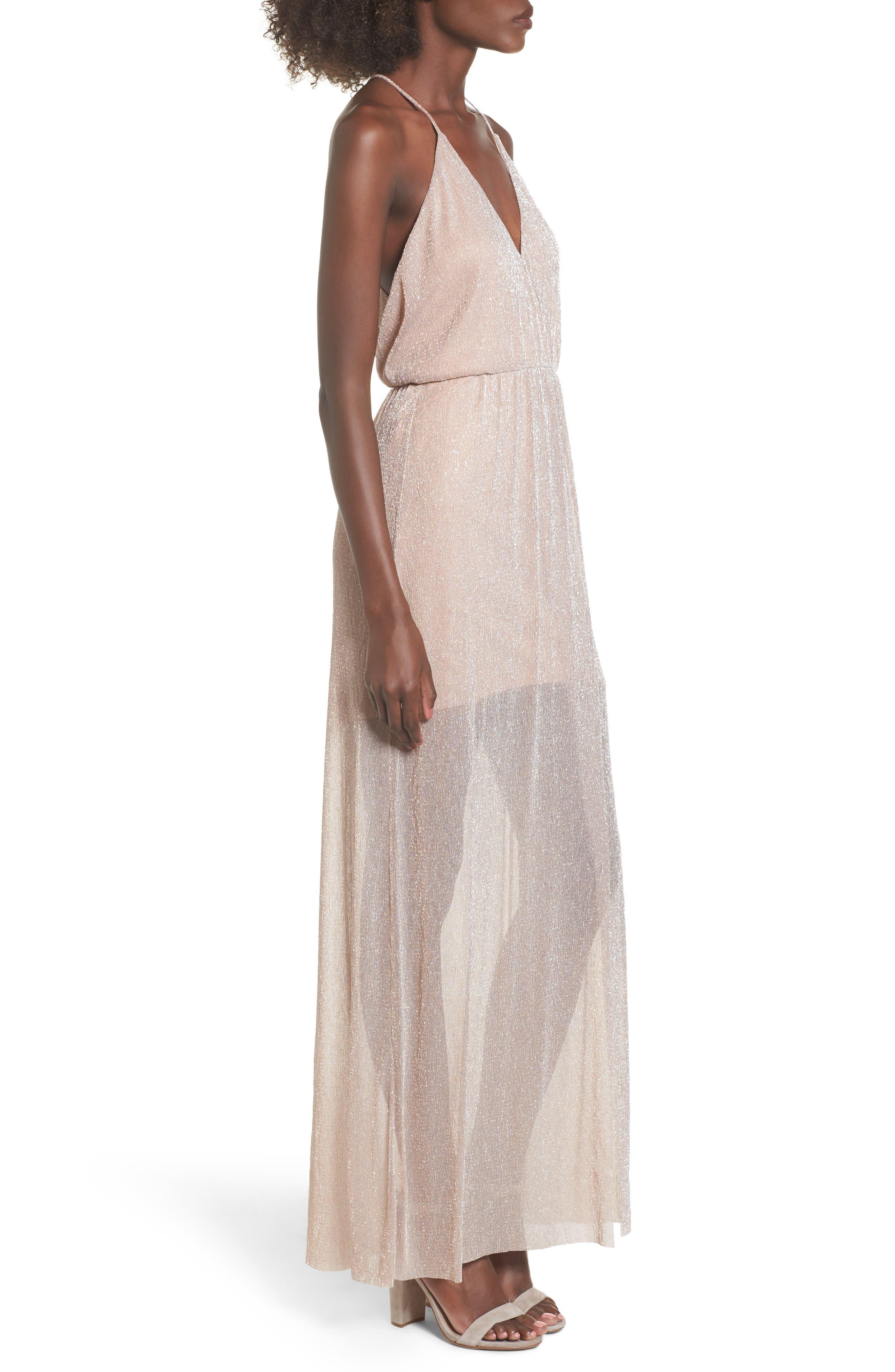 Metallic Surplice Maxi Dress,                             Alternate thumbnail 6, color,