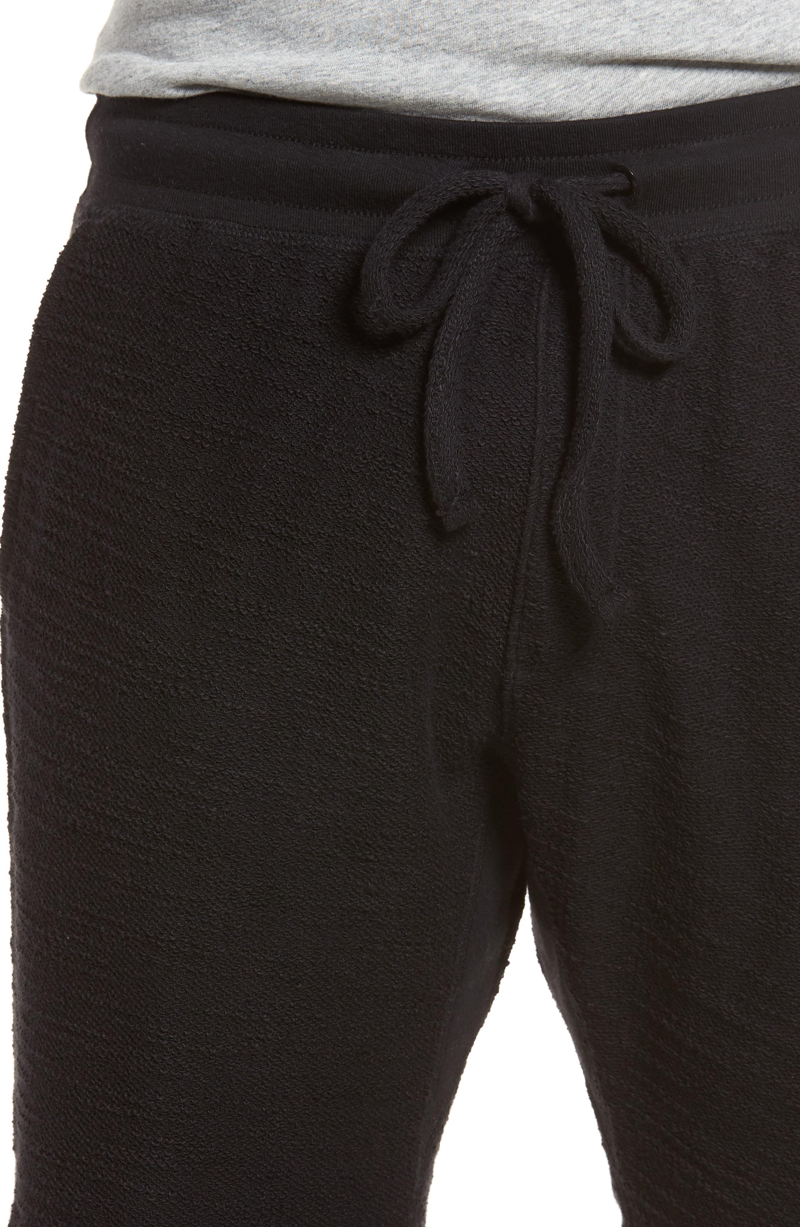 Terry Cotton Blend Shorts,                             Alternate thumbnail 4, color,                             001