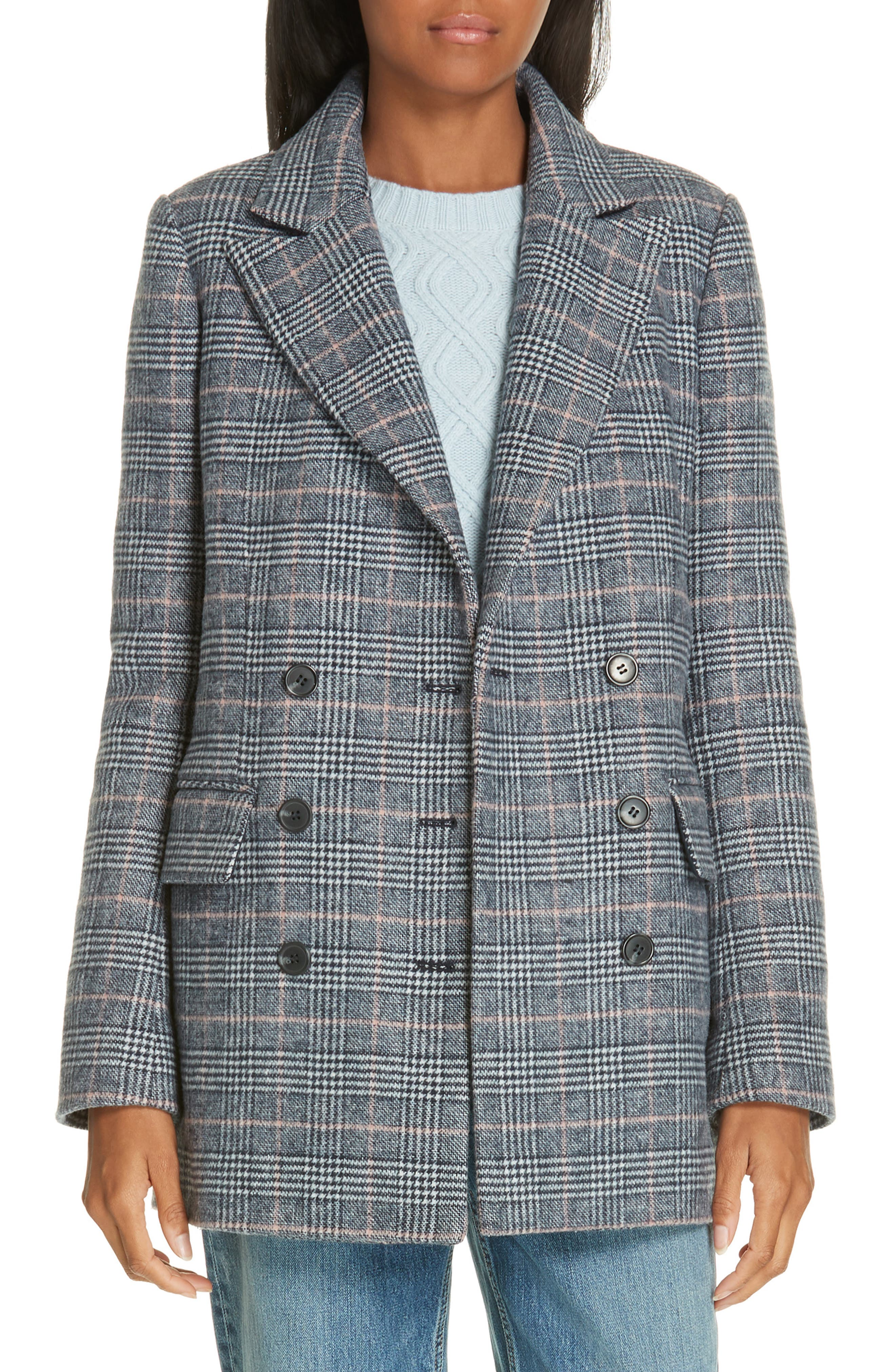 LA VIE REBECCA TAYLOR Plaid Double Breasted Wool Blend Jacket in Rose Quartz Combo