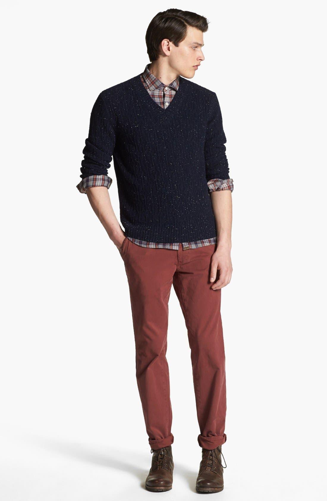 BILLY REID,                             Diamond Knit Wool V-Neck Sweater,                             Alternate thumbnail 3, color,                             410