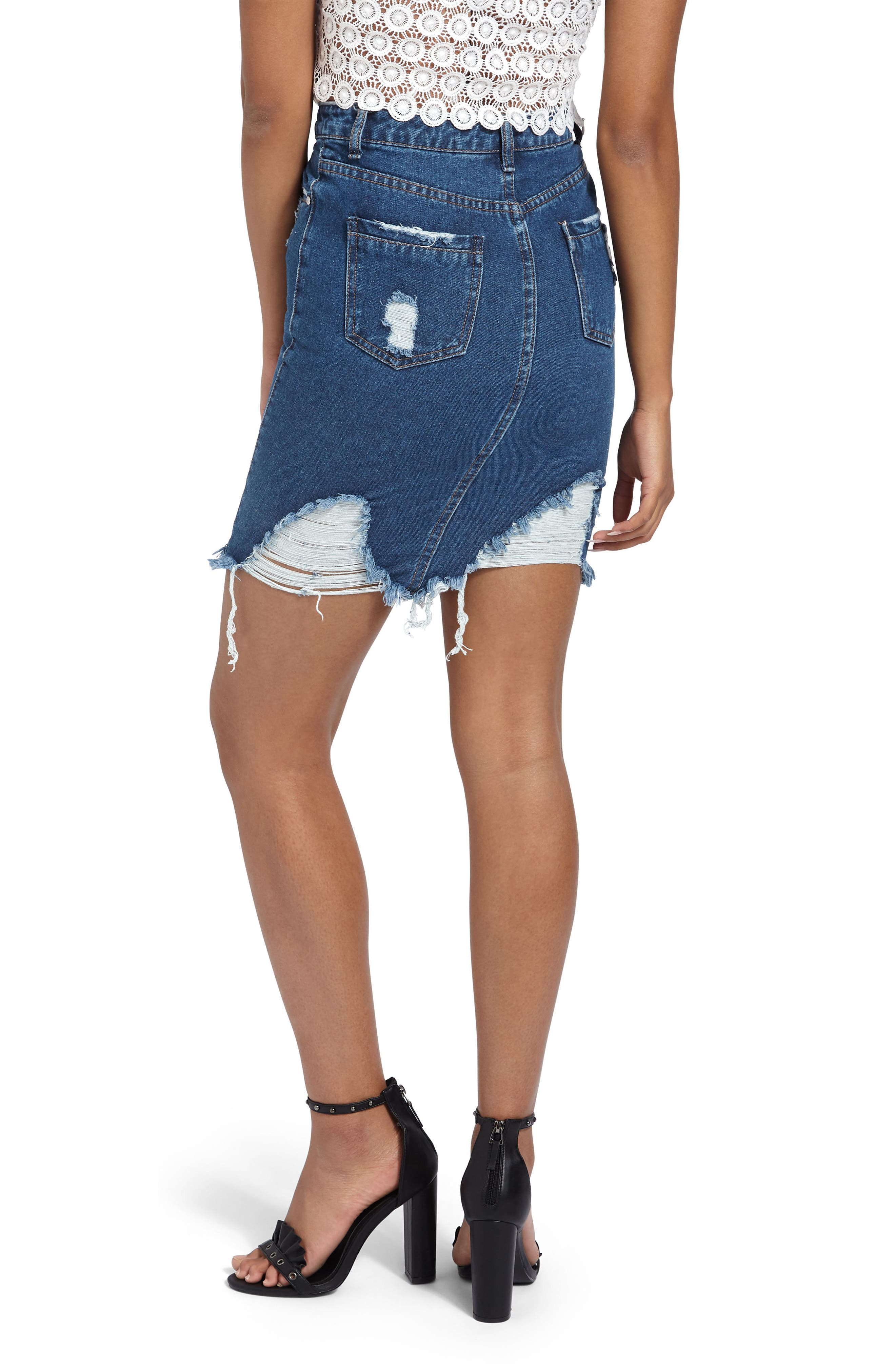 Distressed Denim Skirt,                             Alternate thumbnail 2, color,                             409