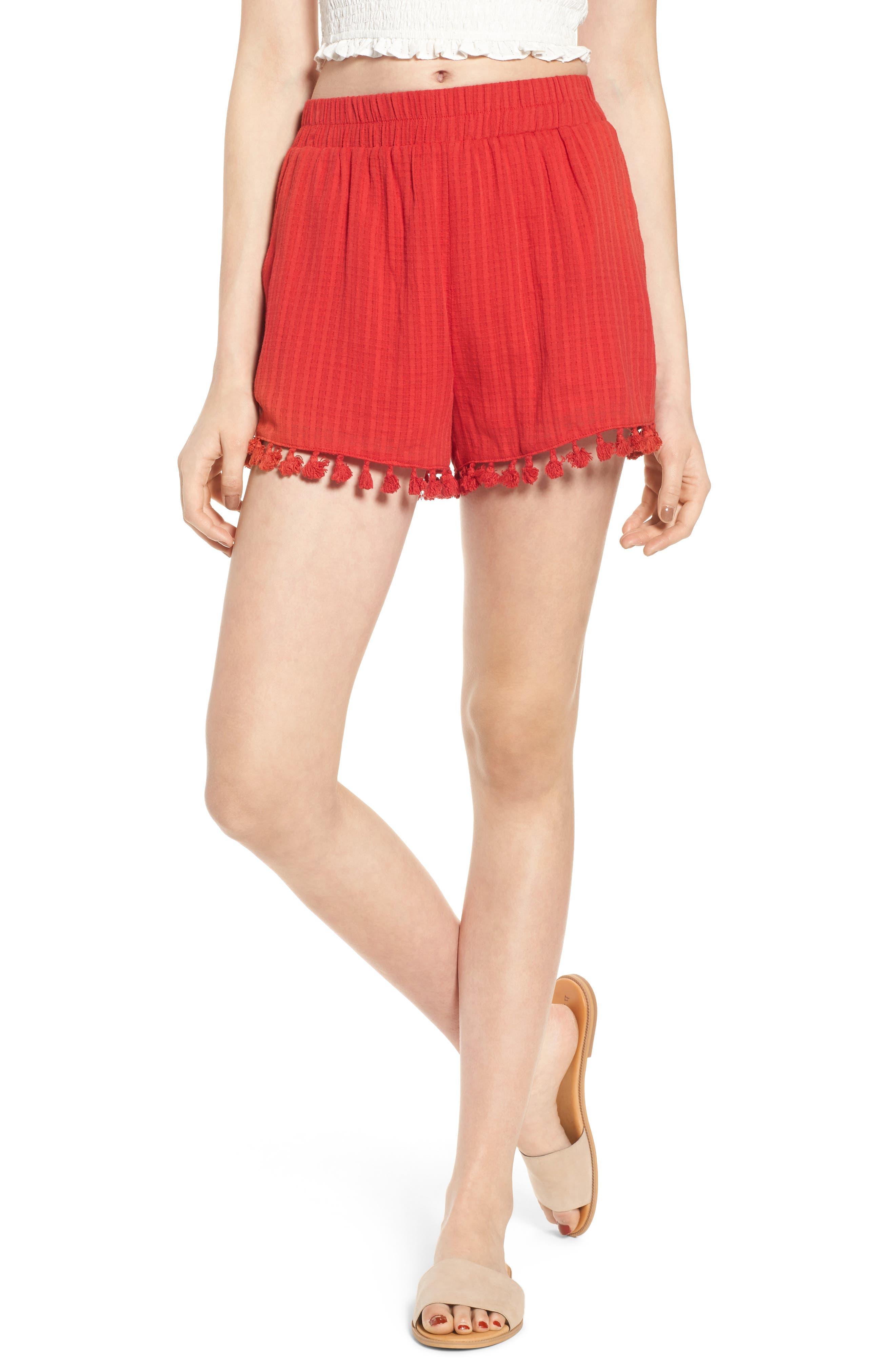 Pompom Trim Shorts,                         Main,                         color, RED