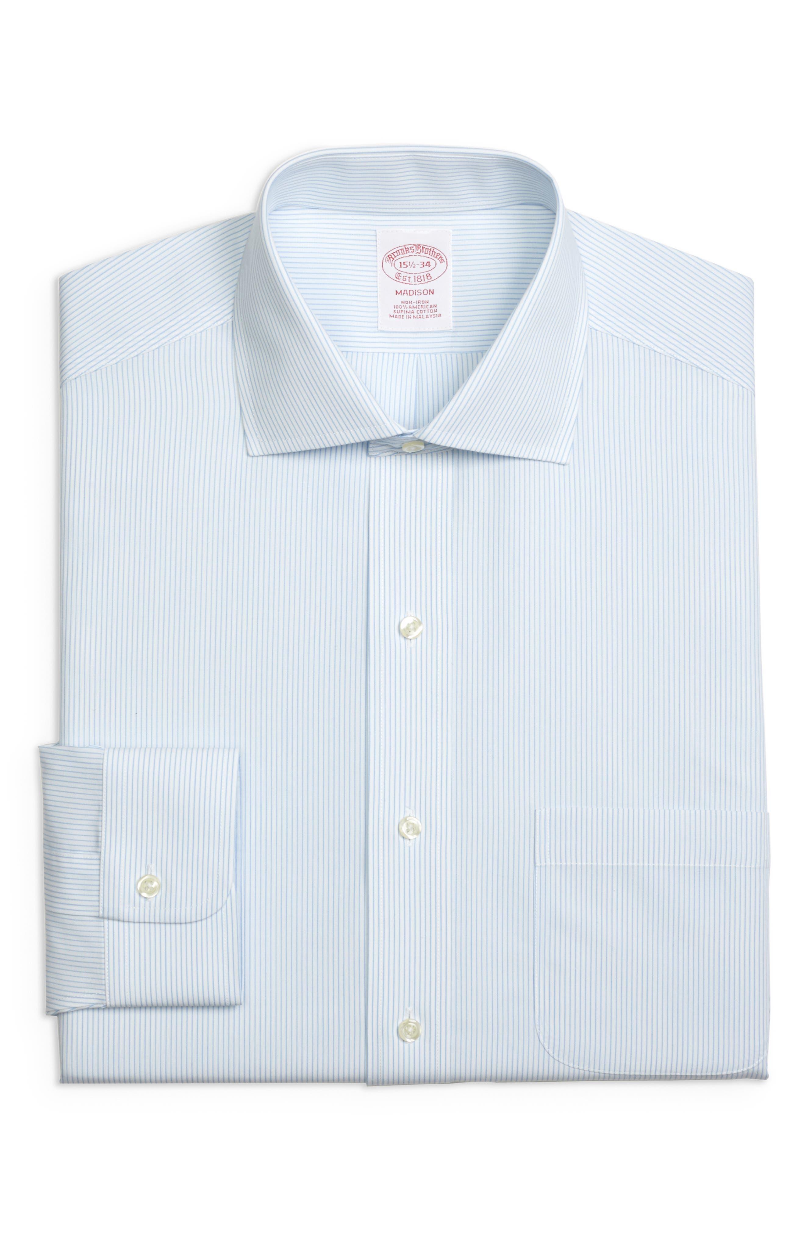 Regular Fit Stripe Dress Shirt,                             Main thumbnail 1, color,                             LIGHT/ PASTEL BLUE