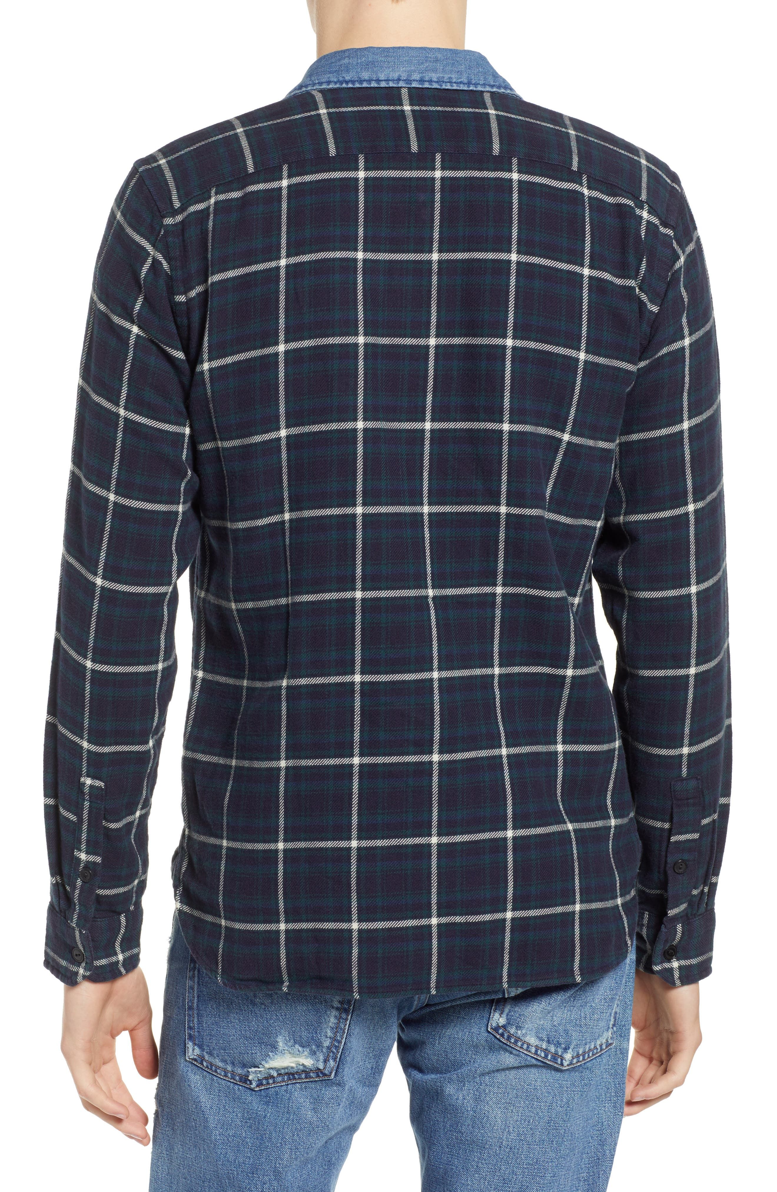 x Justin Timberlake Slim Fit Flannel Worker Shirt,                             Alternate thumbnail 3, color,                             HALLET NIGHT SKY
