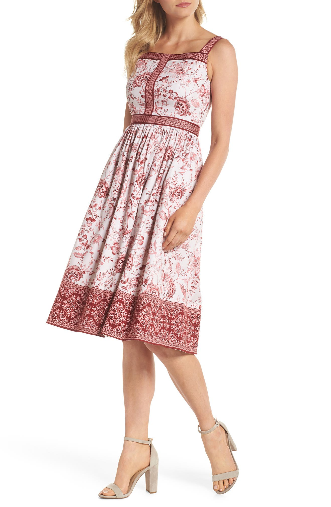 Esme Floral Fit & Flare Dress,                             Main thumbnail 1, color,                             CHAMPAGNE/ BURGUNDY